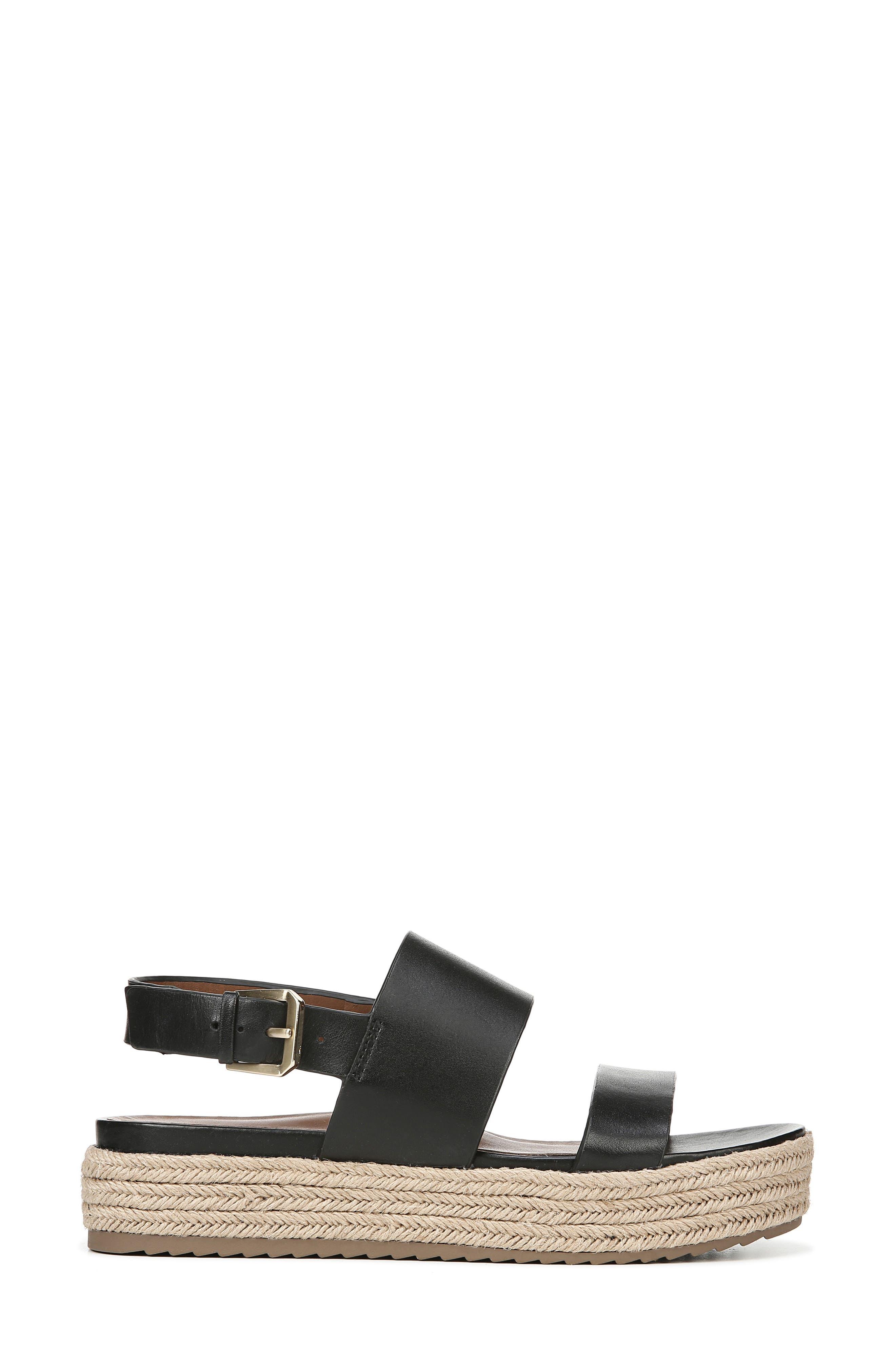 NATURALIZER, Jaycie Platform Sandal, Alternate thumbnail 3, color, BLACK LEATHER