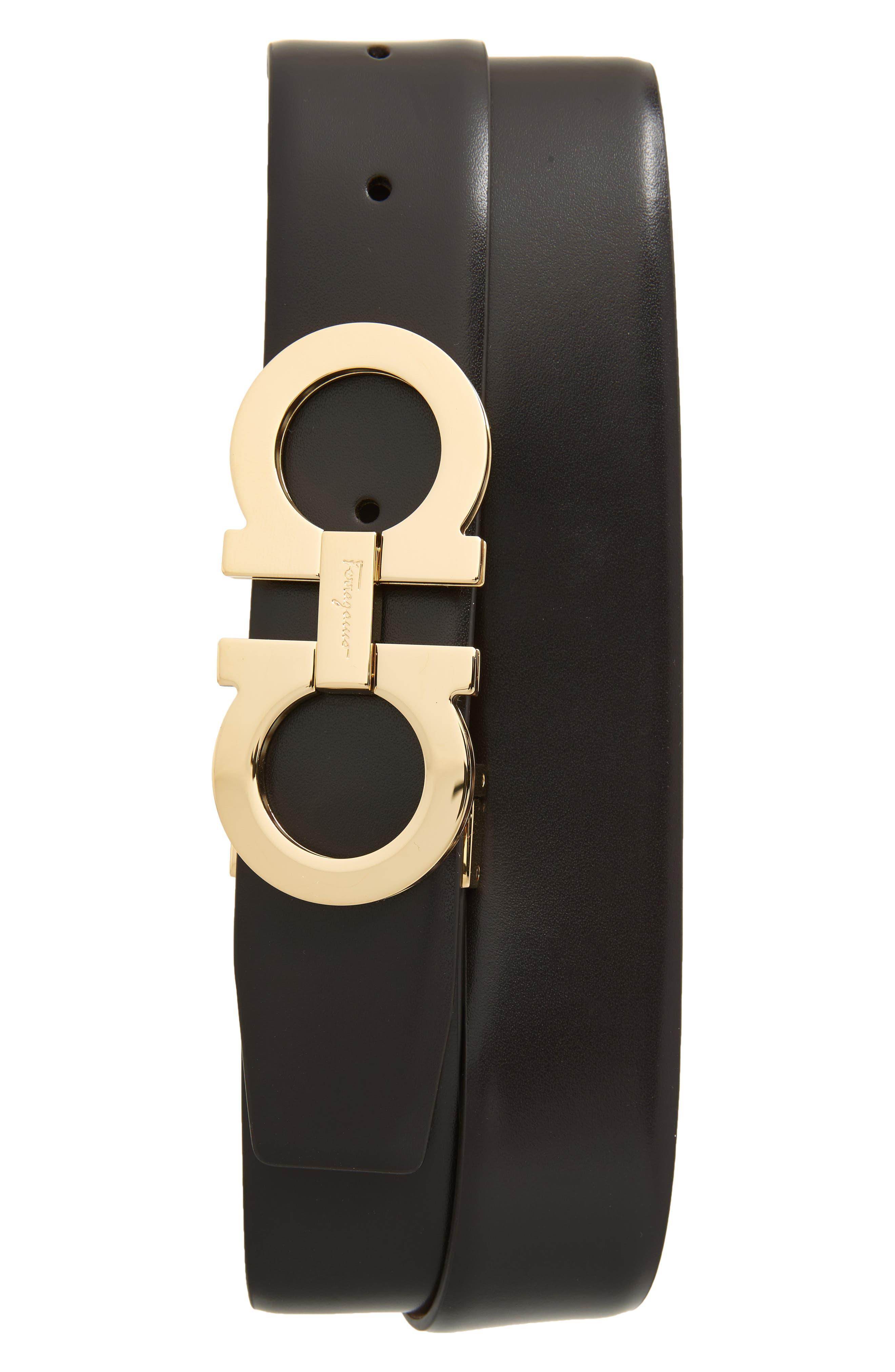 SALVATORE FERRAGAMO Panini Double Gancio Leather Belt, Main, color, MORO