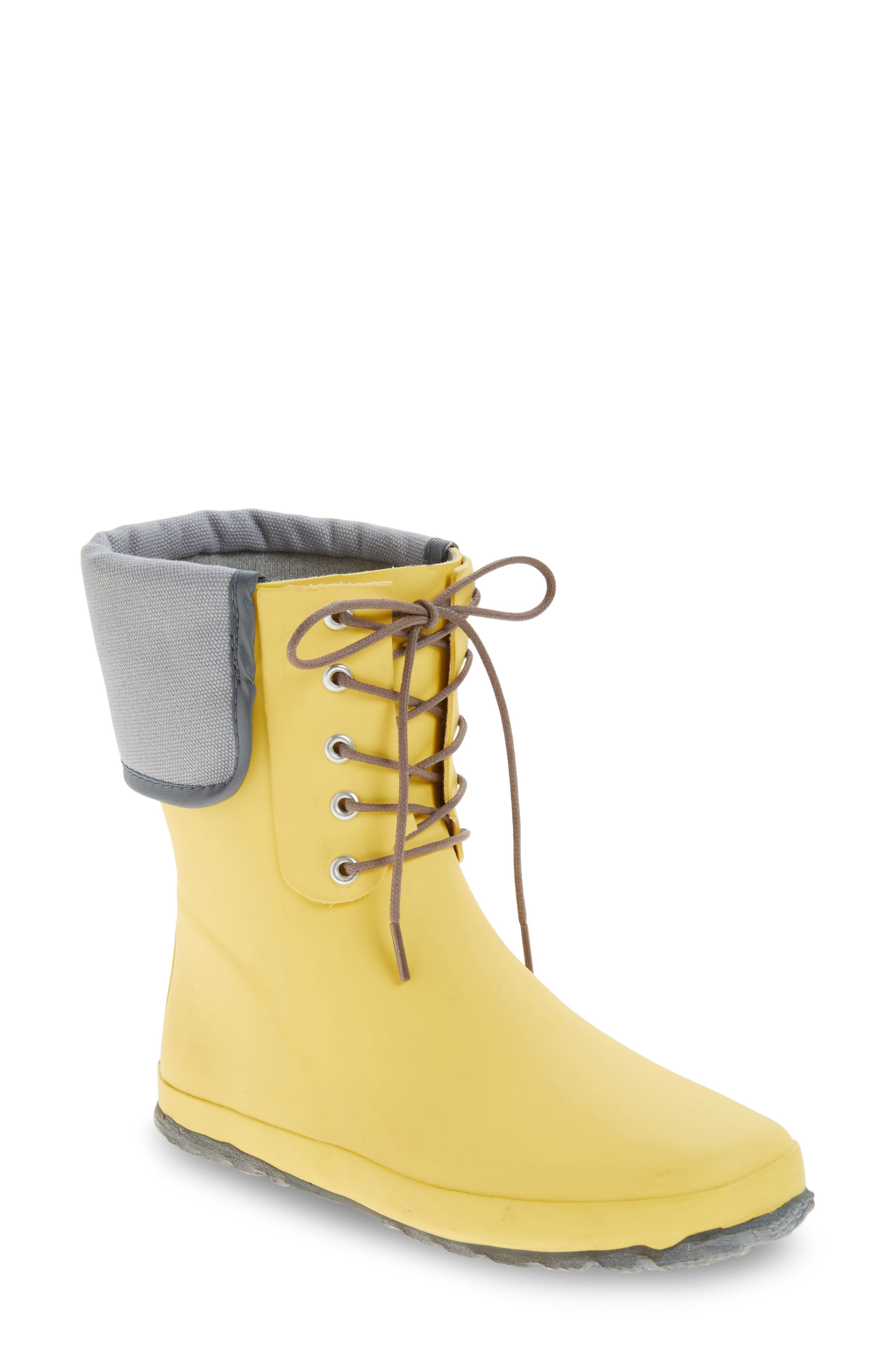 DÄV, Lace-Up Mid Weatherproof Boot, Main thumbnail 1, color, YELLOW