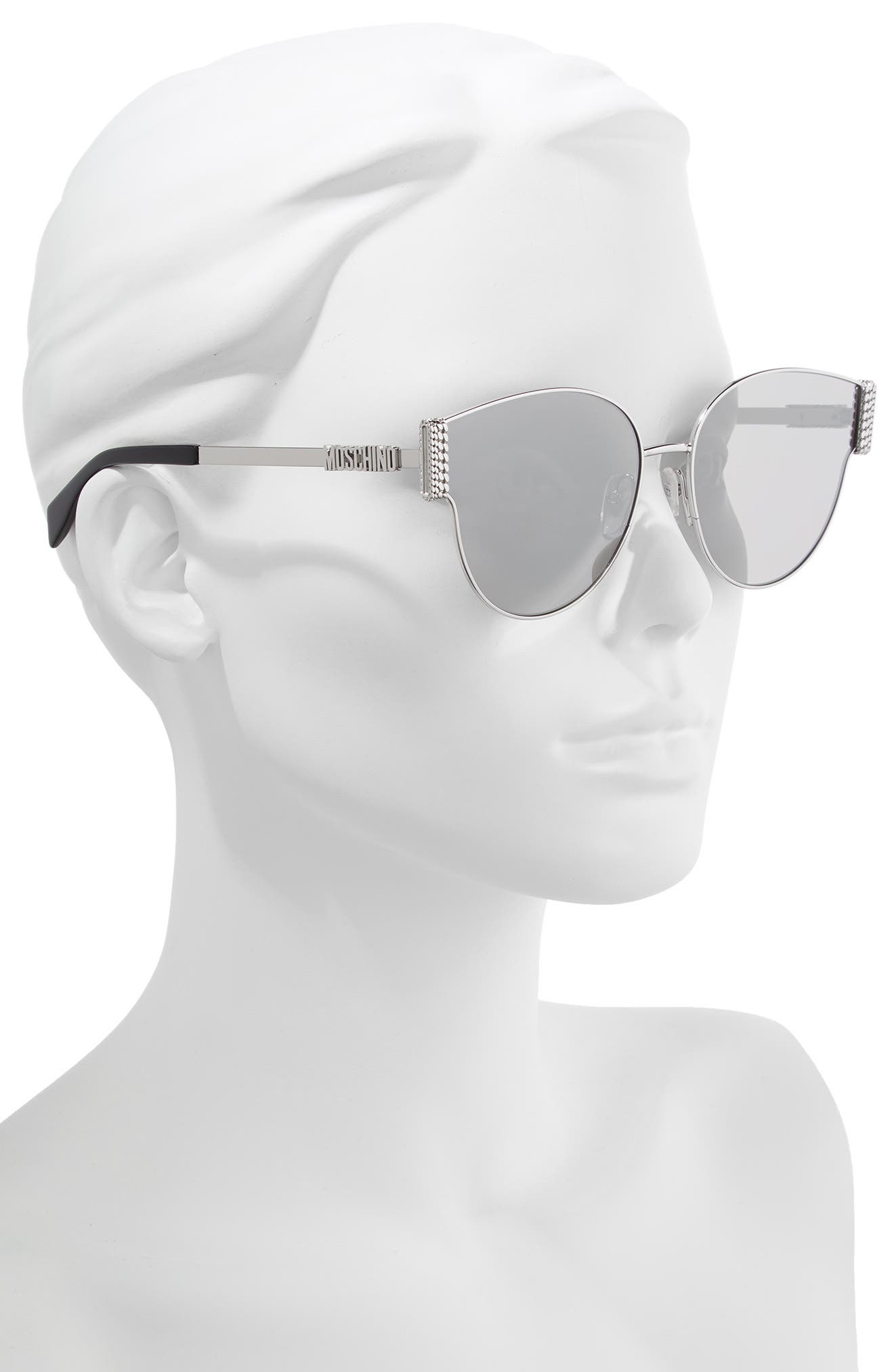 MOSCHINO, 61mm Special Fit Cat Eye Sunglasses, Alternate thumbnail 2, color, SILVER/ BLACK