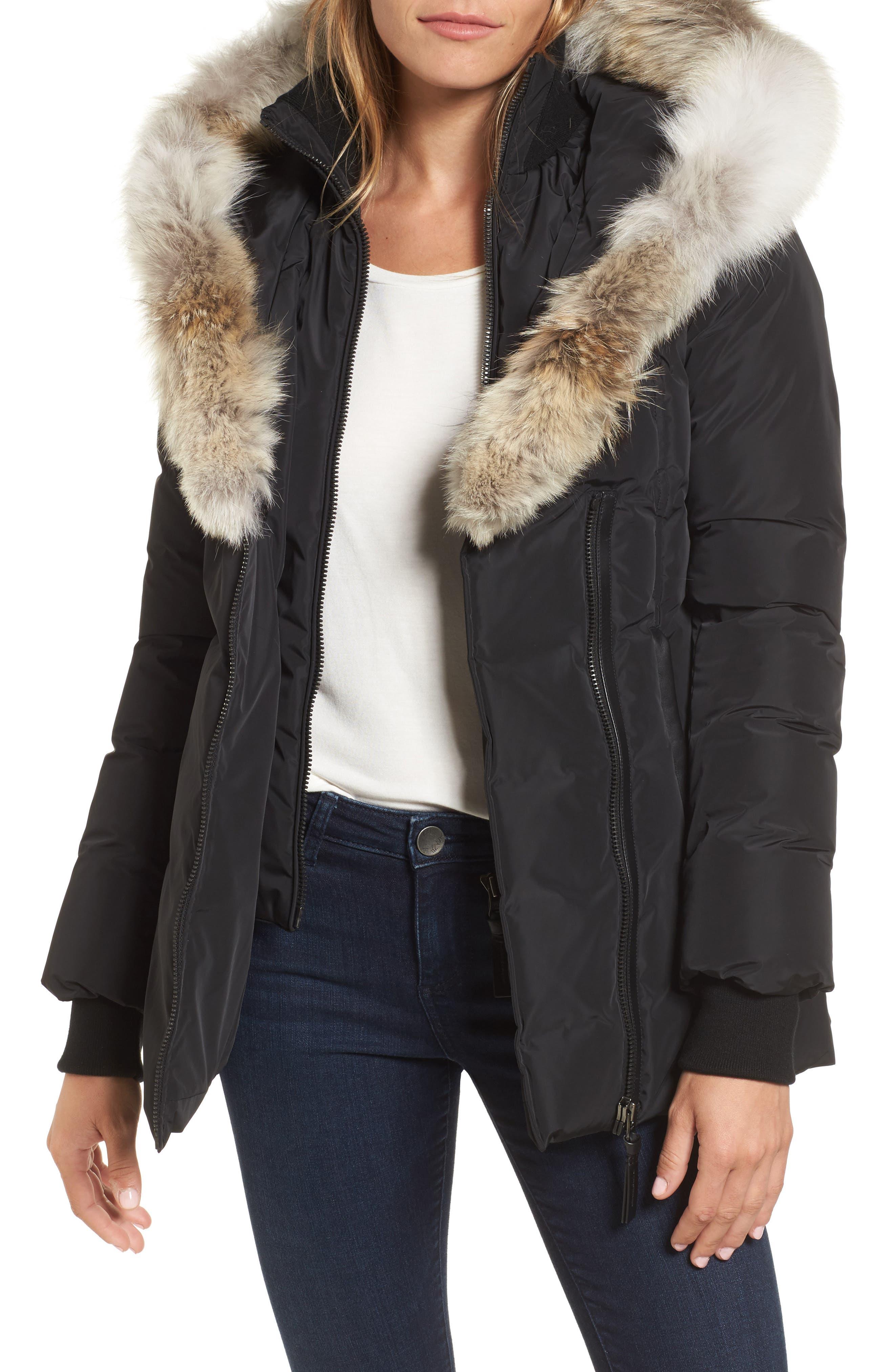 MACKAGE, Hooded Down Parka with Inset Bib & Genuine Fox Fur Trim, Main thumbnail 1, color, 001