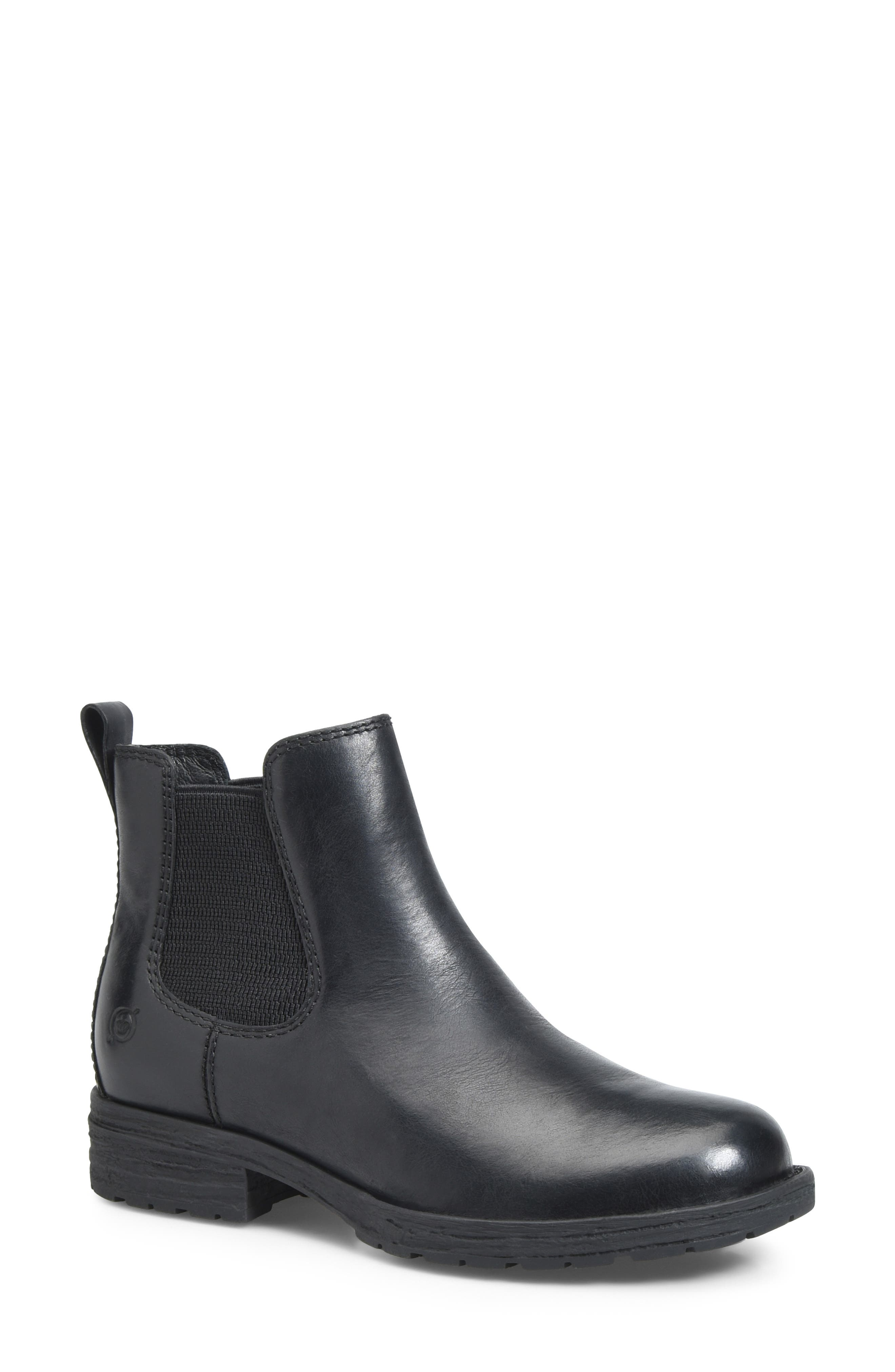 BØRN, Cove Waterproof Chelsea Boot, Main thumbnail 1, color, BLACK DISTRESSED LEATHER