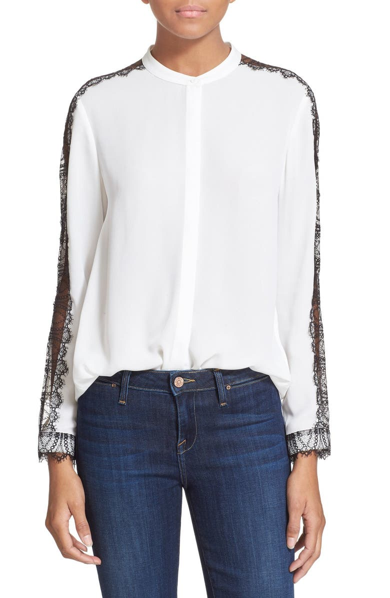37391cdd46 THE KOOPLES Lace Inset Crepe Blouse, Main, color, 900
