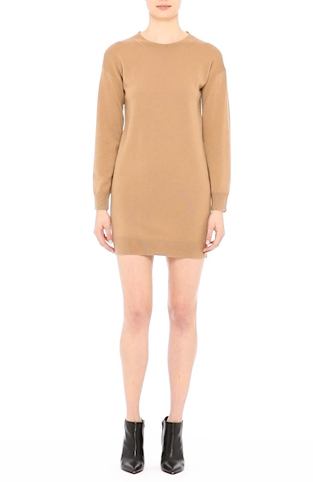 BURBERRY, Alewater Elbow Patch Merino Wool Dress, Alternate thumbnail 9, color, CAMEL