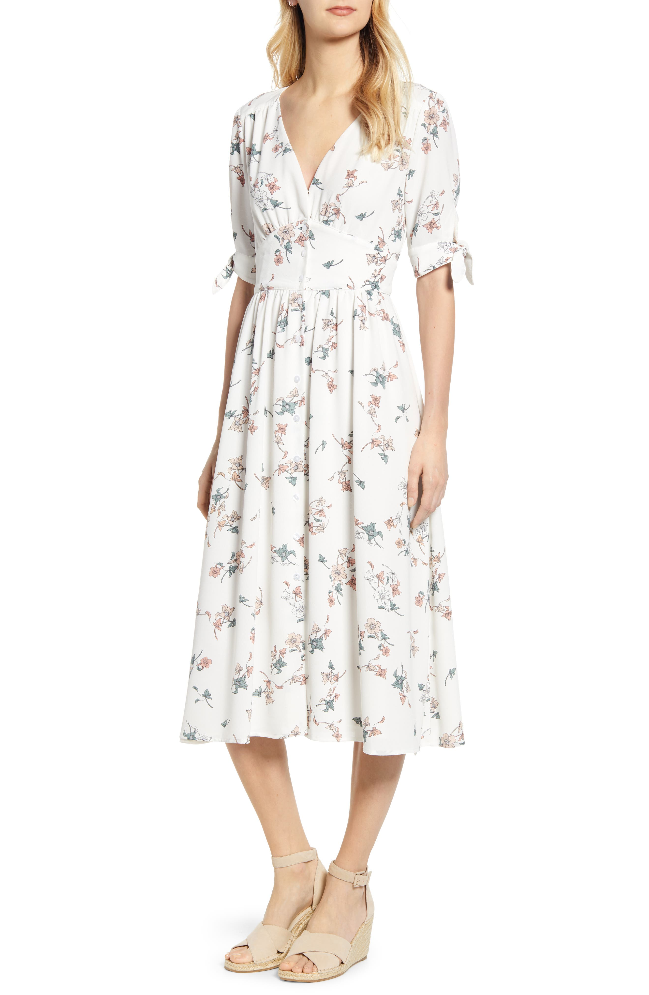 1.STATE Floral Belle Tie Sleeve Midi Dress, Main, color, 100