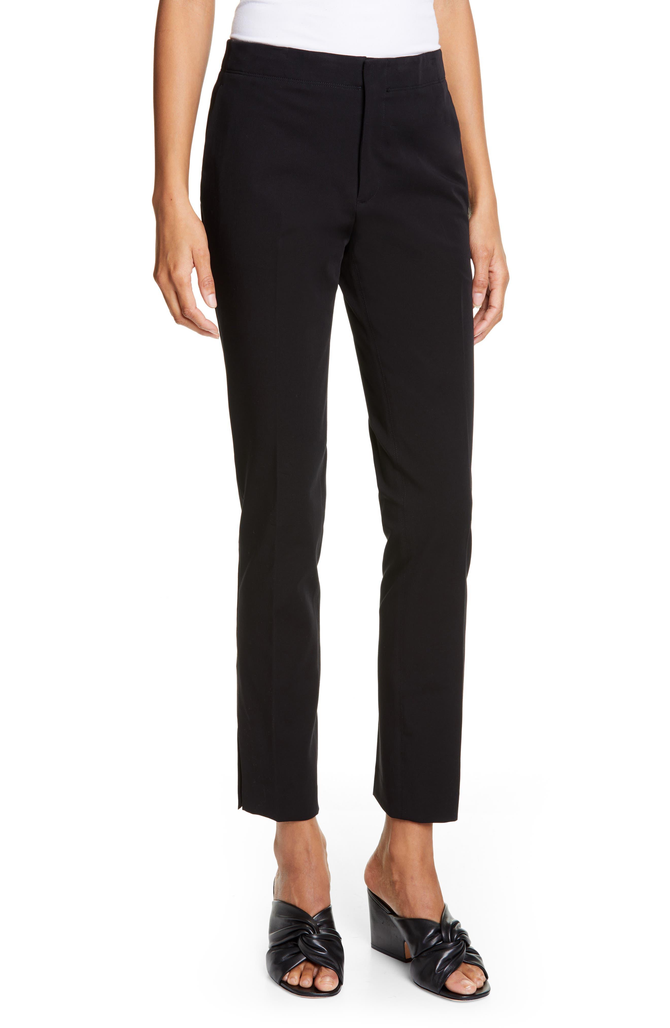 HELMUT LANG Stretch Cotton Slim Trousers, Main, color, BLACK
