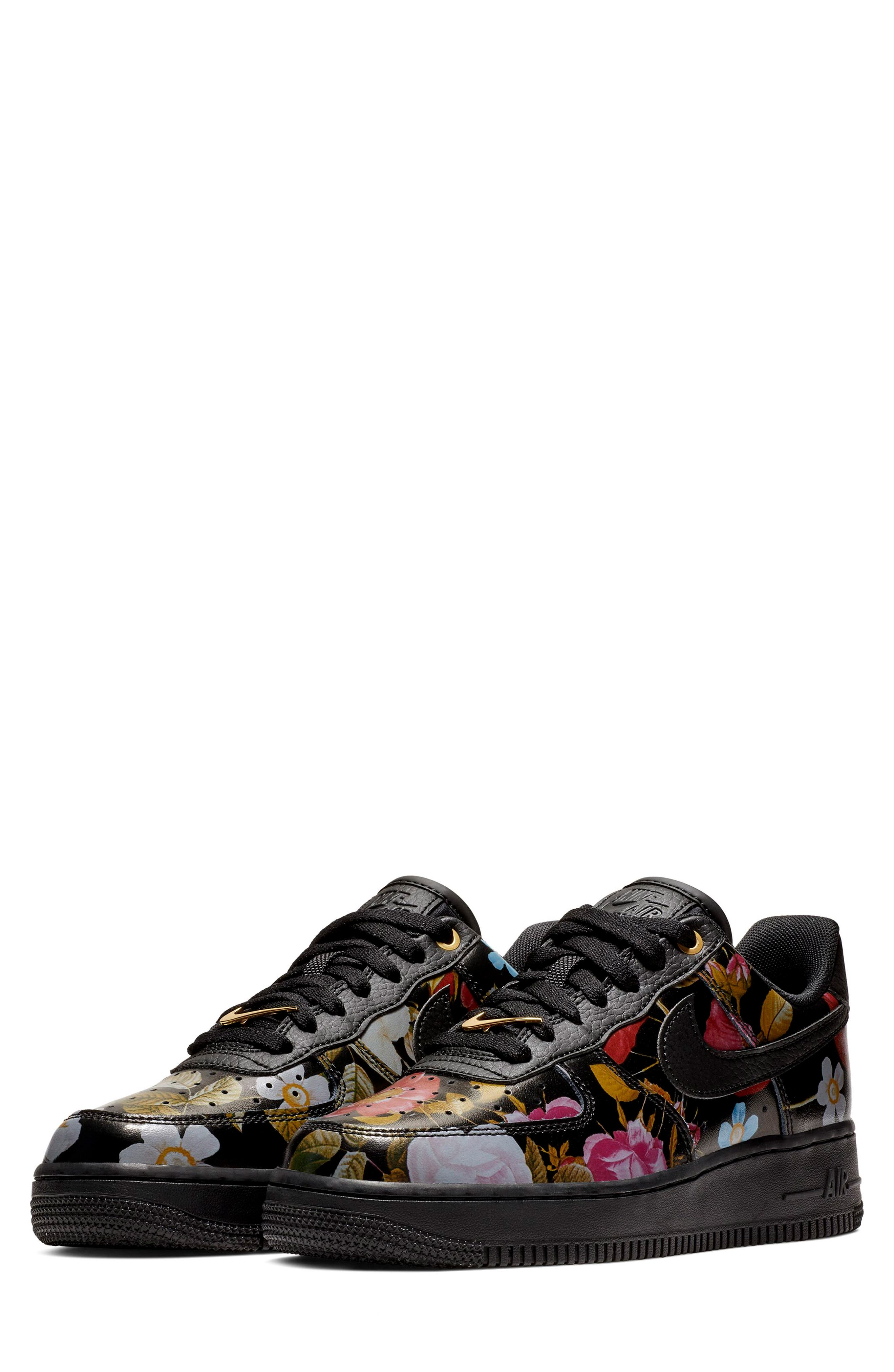 NIKE, Air Force 1 '07 LXX Sneaker, Main thumbnail 1, color, BLACK/ BLACK/ METALLIC GOLD