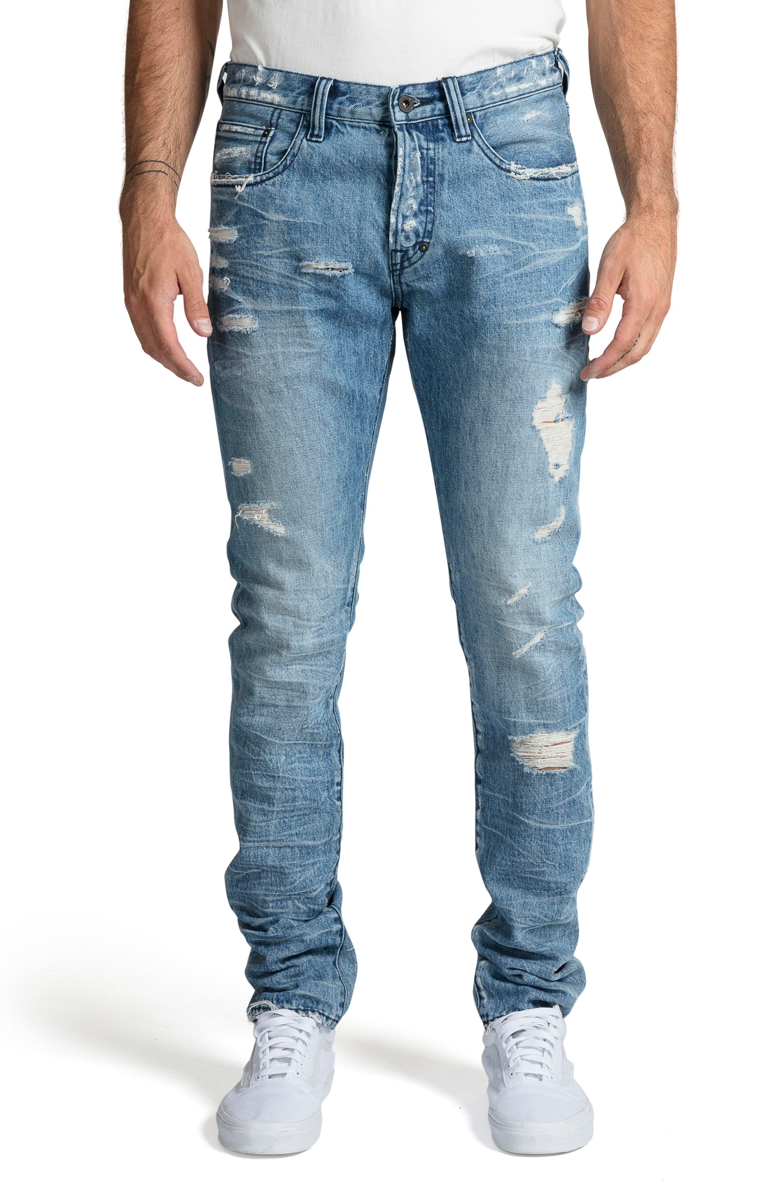 PRPS, Le Sabre Slim Fit Jeans, Main thumbnail 1, color, BLUE