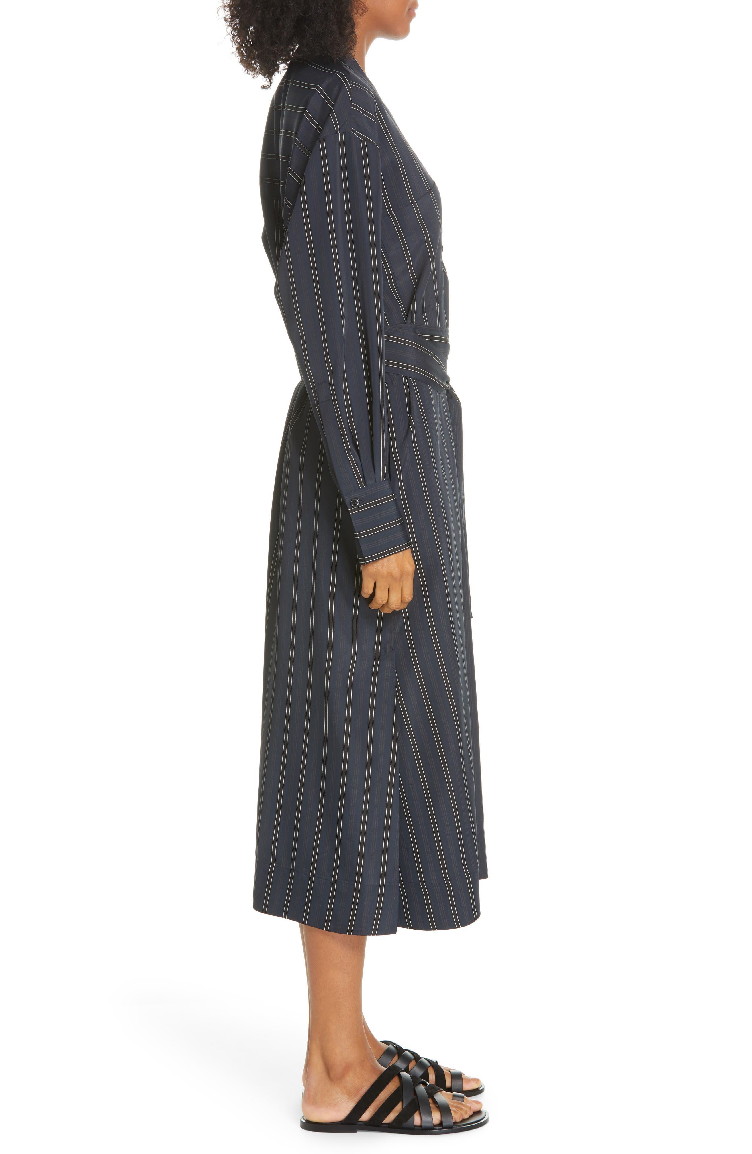 VINCE, Stripe Belted Midi Shirtdress, Alternate thumbnail 4, color, MARINE