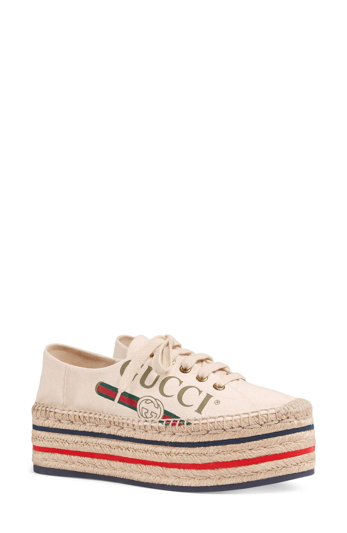 GUCCI, Convertible Logo Espadrille, Main thumbnail 1, color, IVORY