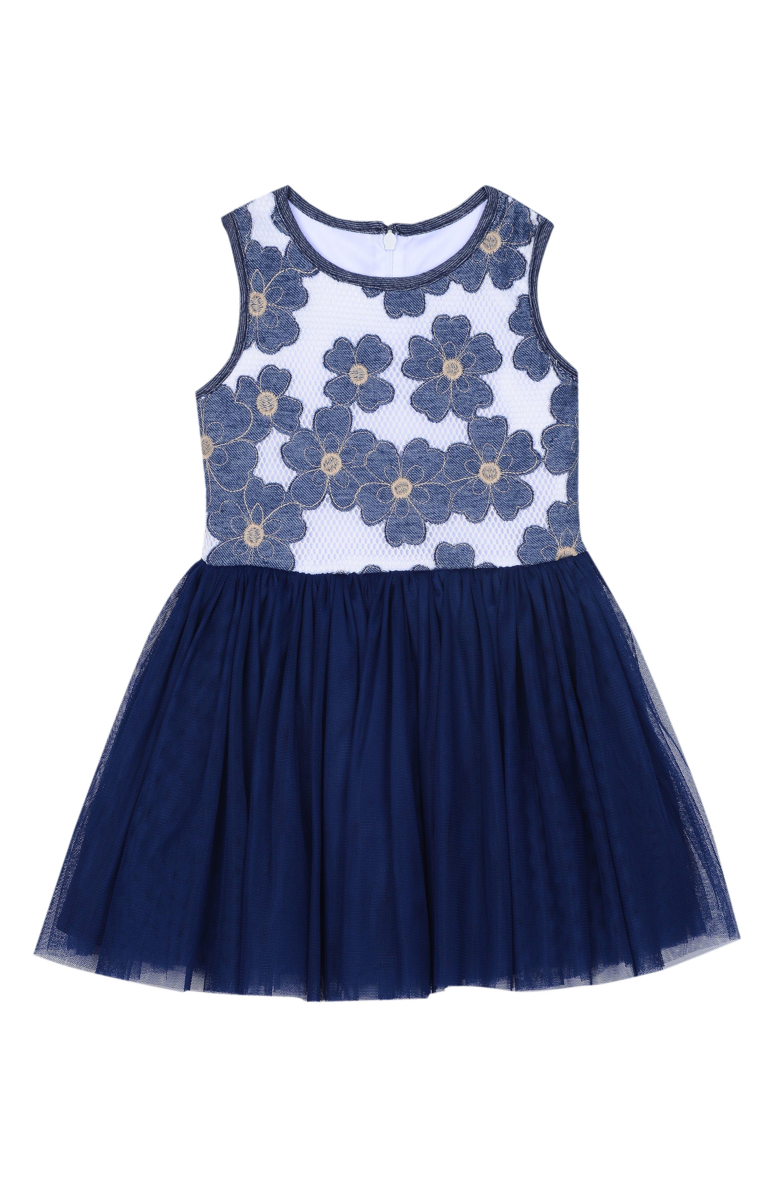PIPPA & JULIE Floral Appliqué Tutu Dress, Main, color, 138