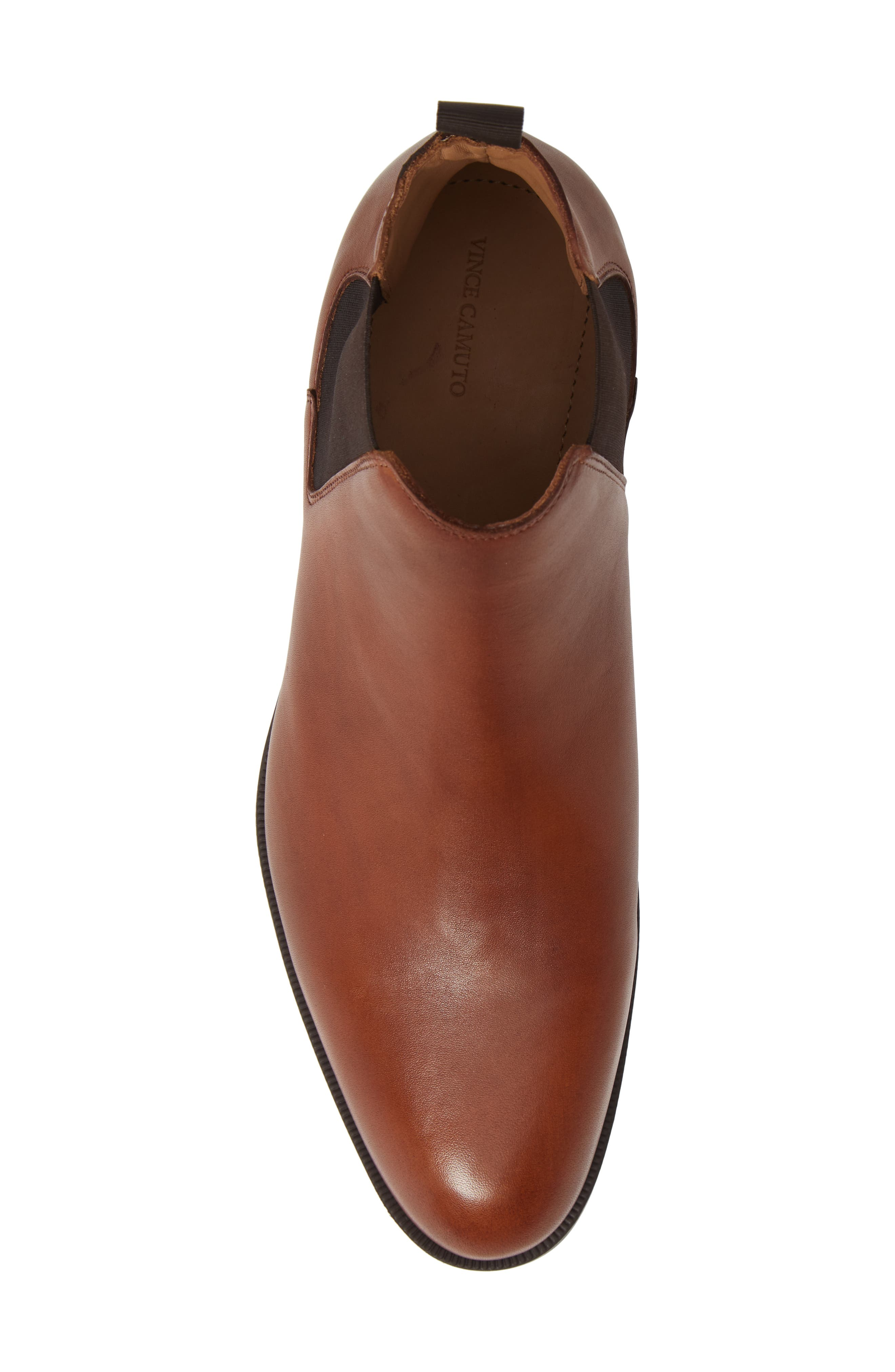 VINCE CAMUTO, Ivo Mid Chelsea Boot, Alternate thumbnail 5, color, COGNAC LEATHER
