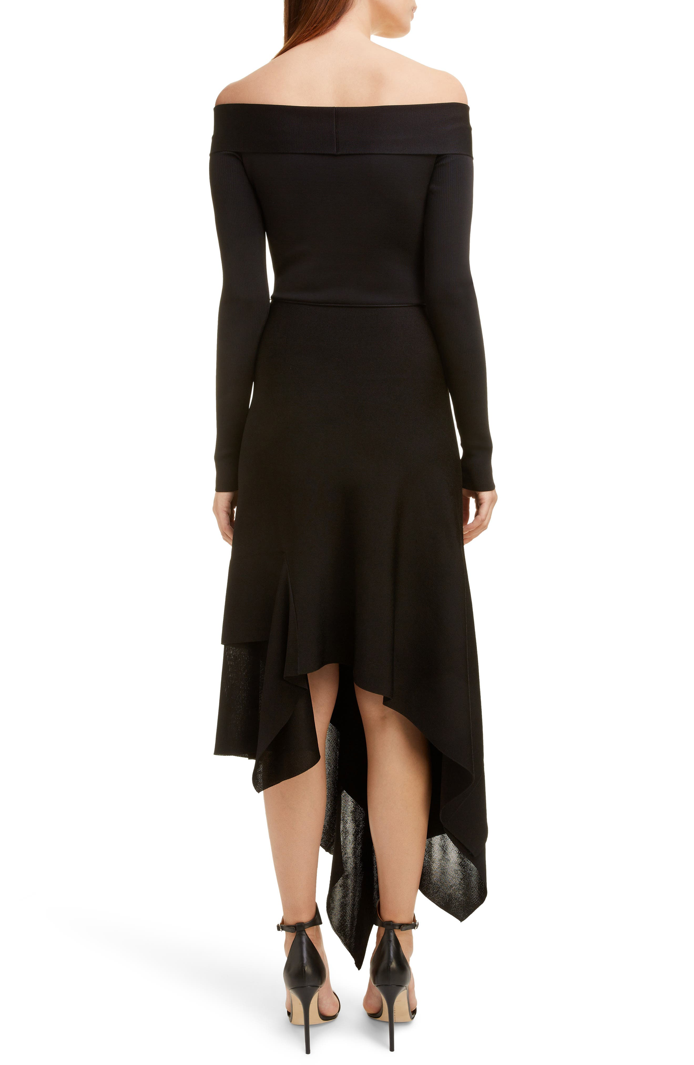 VICTORIA BECKHAM, Long Sleeve Off the Shoulder Asymmetrical Dress, Alternate thumbnail 2, color, BLACK