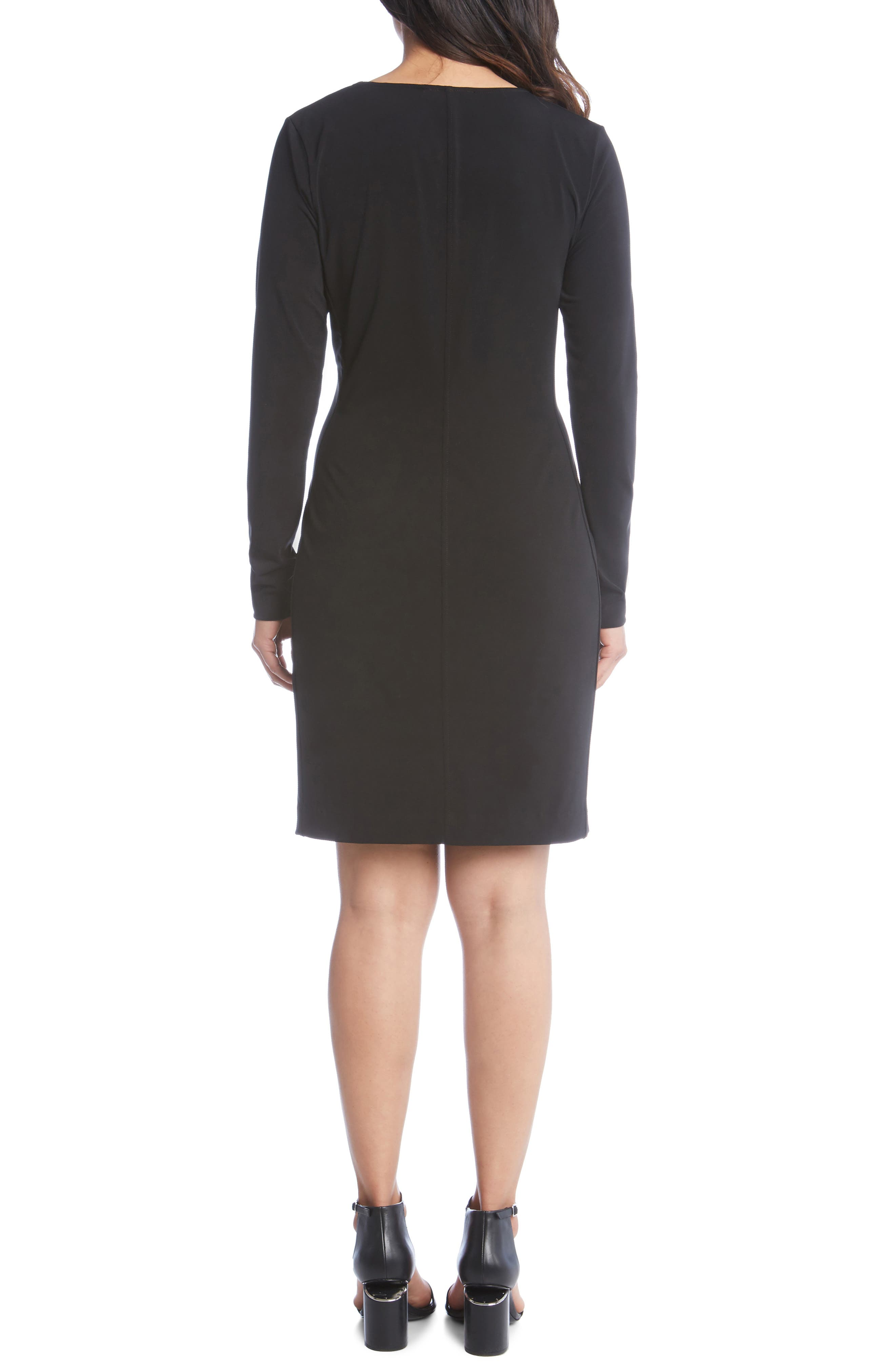 KAREN KANE, Faux Wrap Dress, Alternate thumbnail 2, color, BLACK