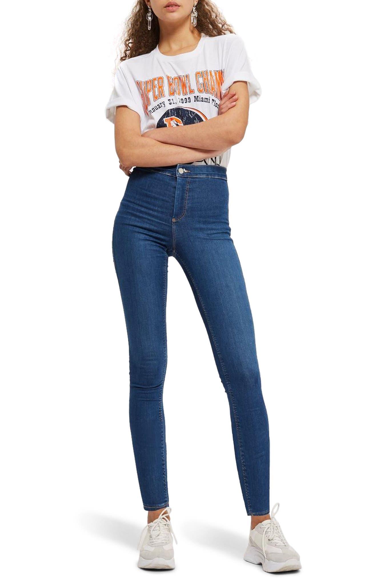 TOPSHOP, Moto Joni Skinny Jeans, Main thumbnail 1, color, BLUE