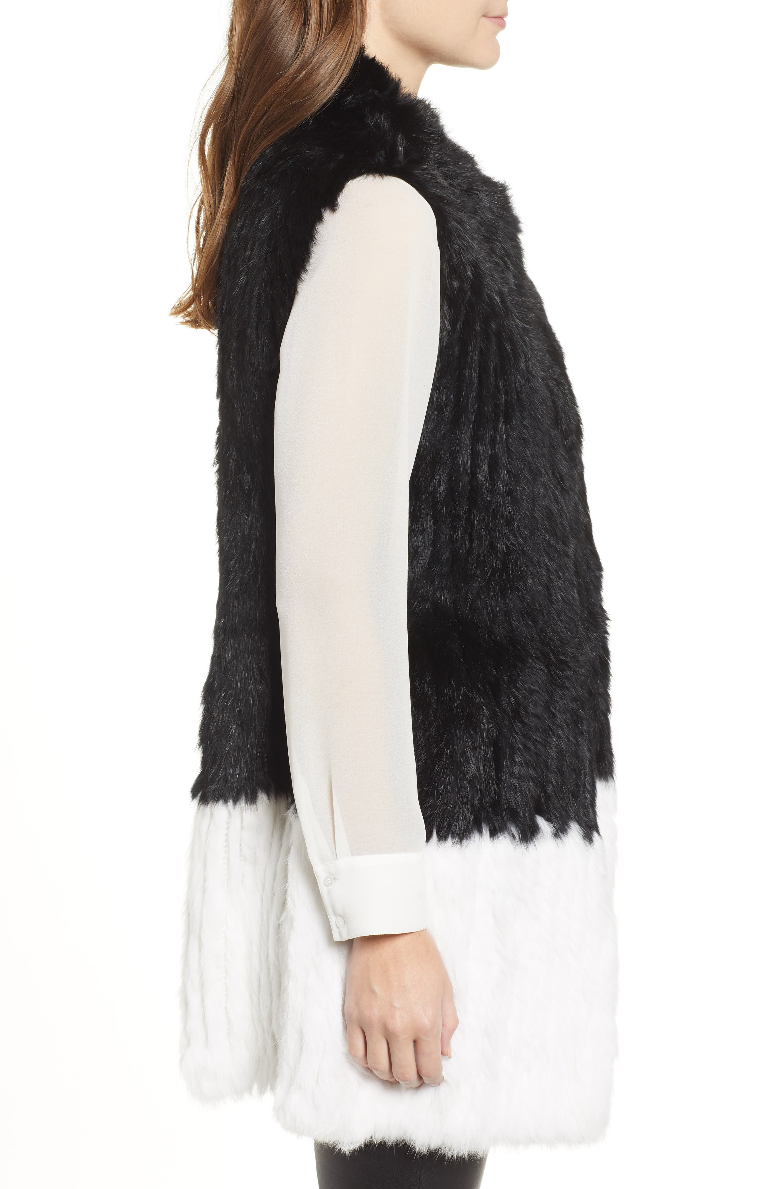 LOVE TOKEN, Long Colorblock Genuine Rabbit Fur Vest, Alternate thumbnail 4, color, 001