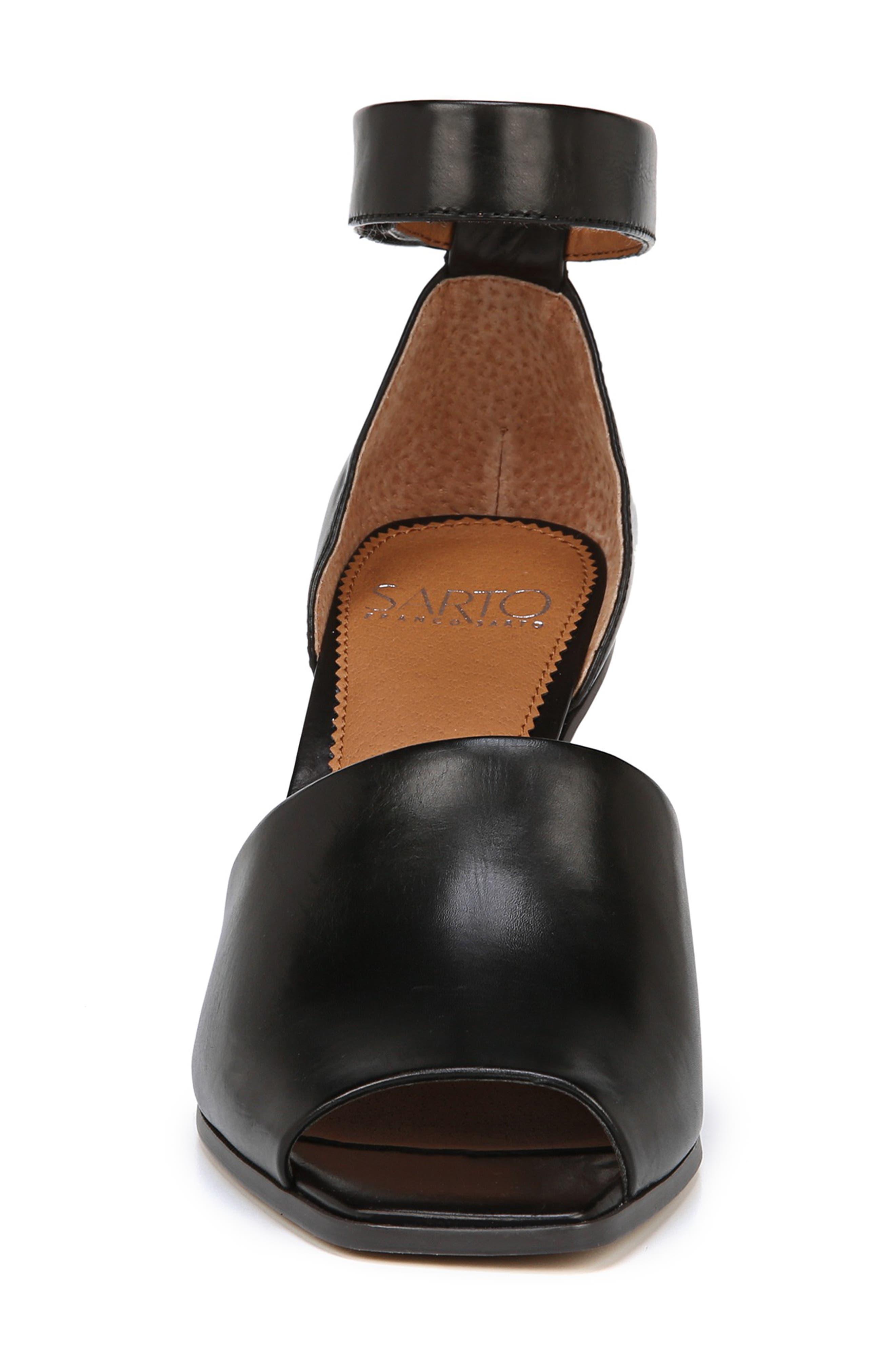 SARTO BY FRANCO SARTO, Ankle Strap Sandal, Alternate thumbnail 4, color, BLACK FOULARD LEATHER