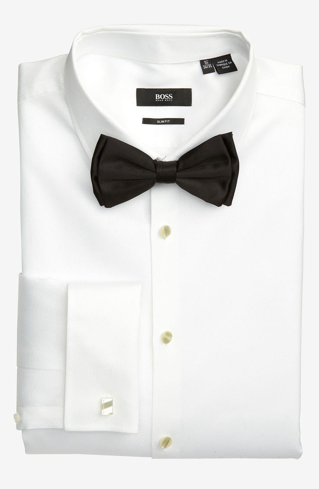 BOSS, Jameson Slim Fit Diamond Weave French Cuff Tuxedo Shirt, Alternate thumbnail 5, color, 120