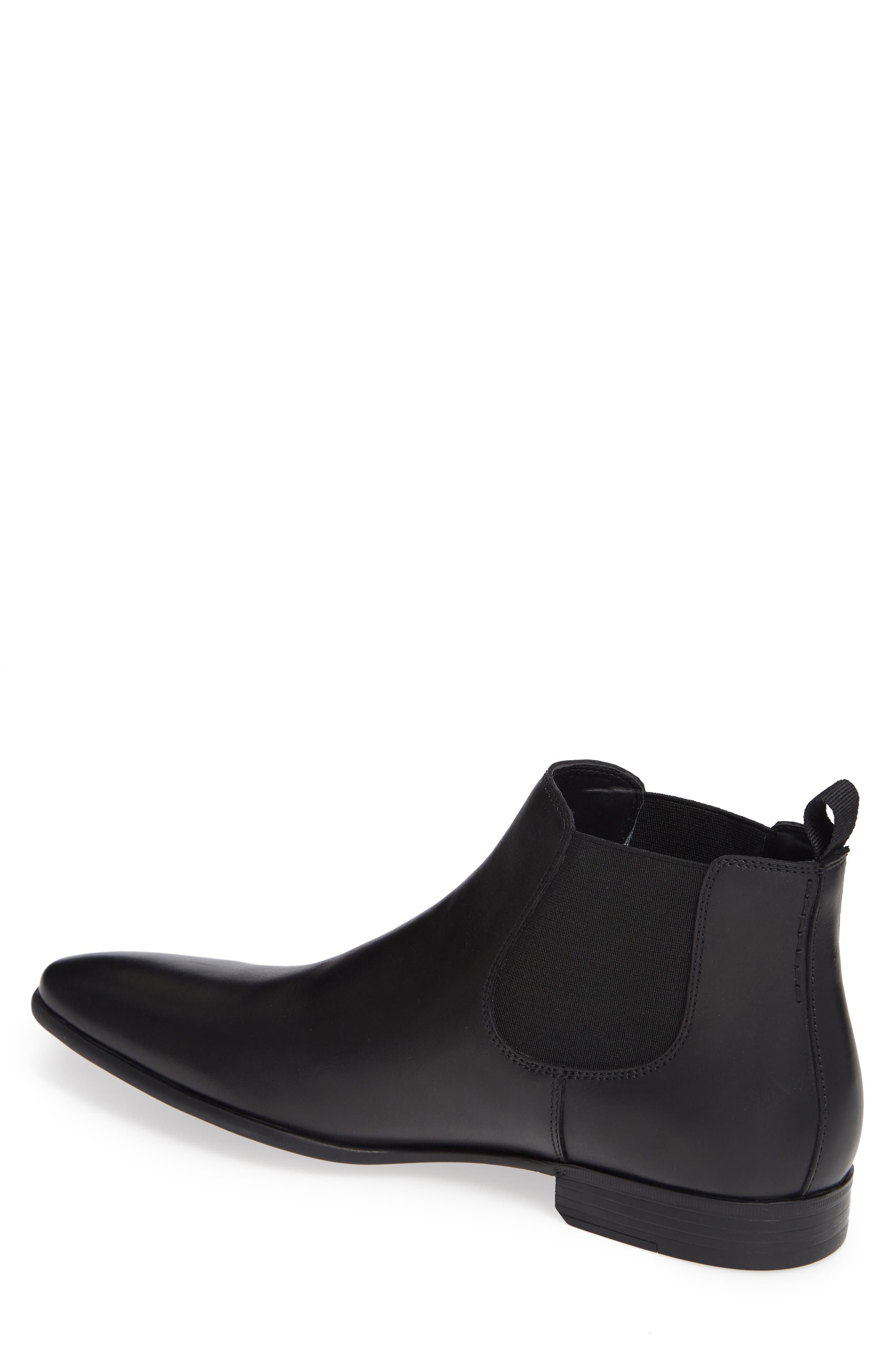 THE RAIL, Knox Chelsea Boot, Alternate thumbnail 2, color, BLACK LEATHER