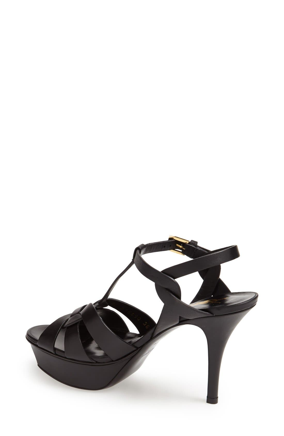 SAINT LAURENT, Tribute T-Strap Sandal, Alternate thumbnail 2, color, 001