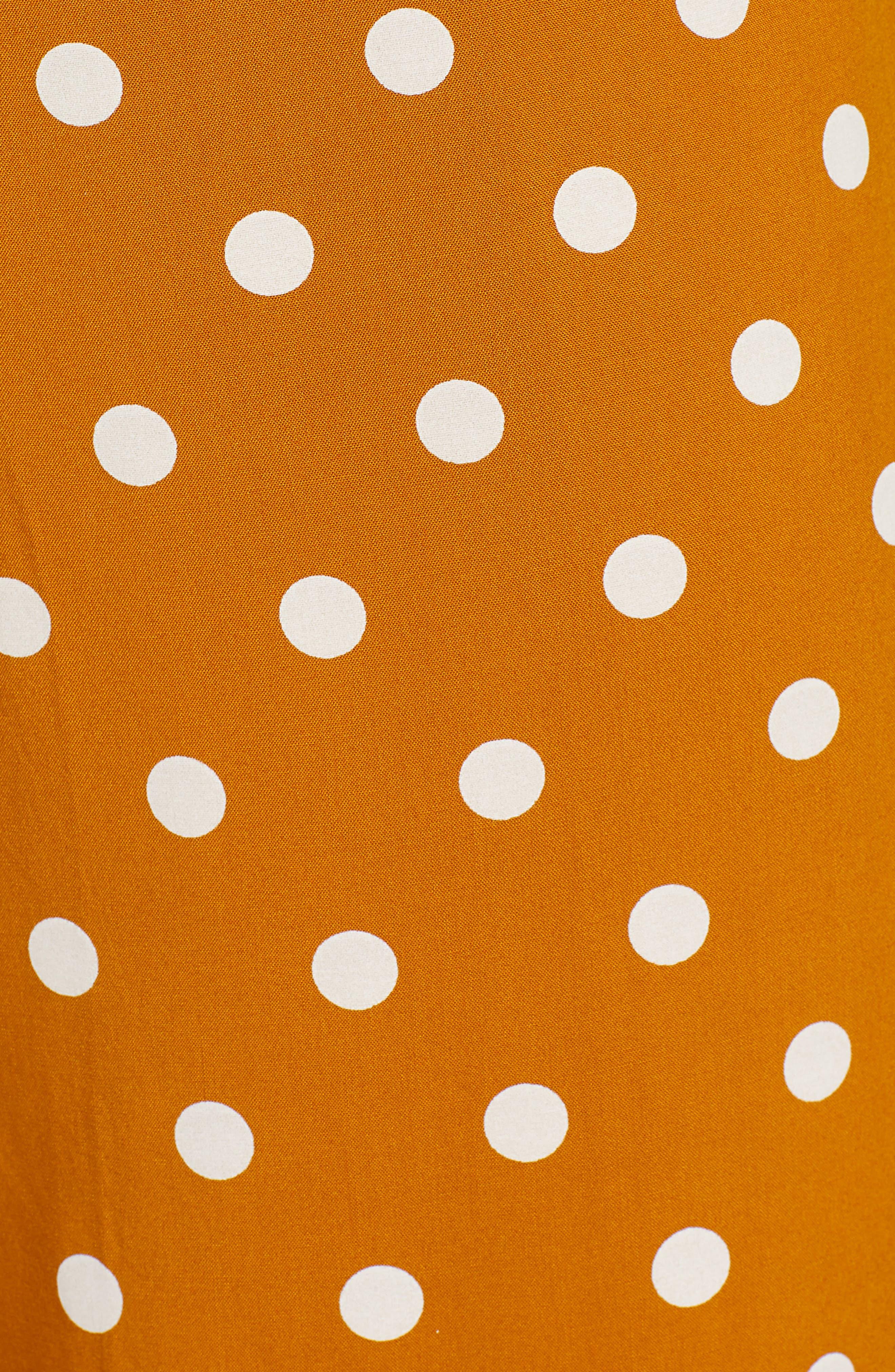 BP., Polka Dot Jumpsuit, Alternate thumbnail 6, color, BROWN BUCKTHORN POLKA DOT