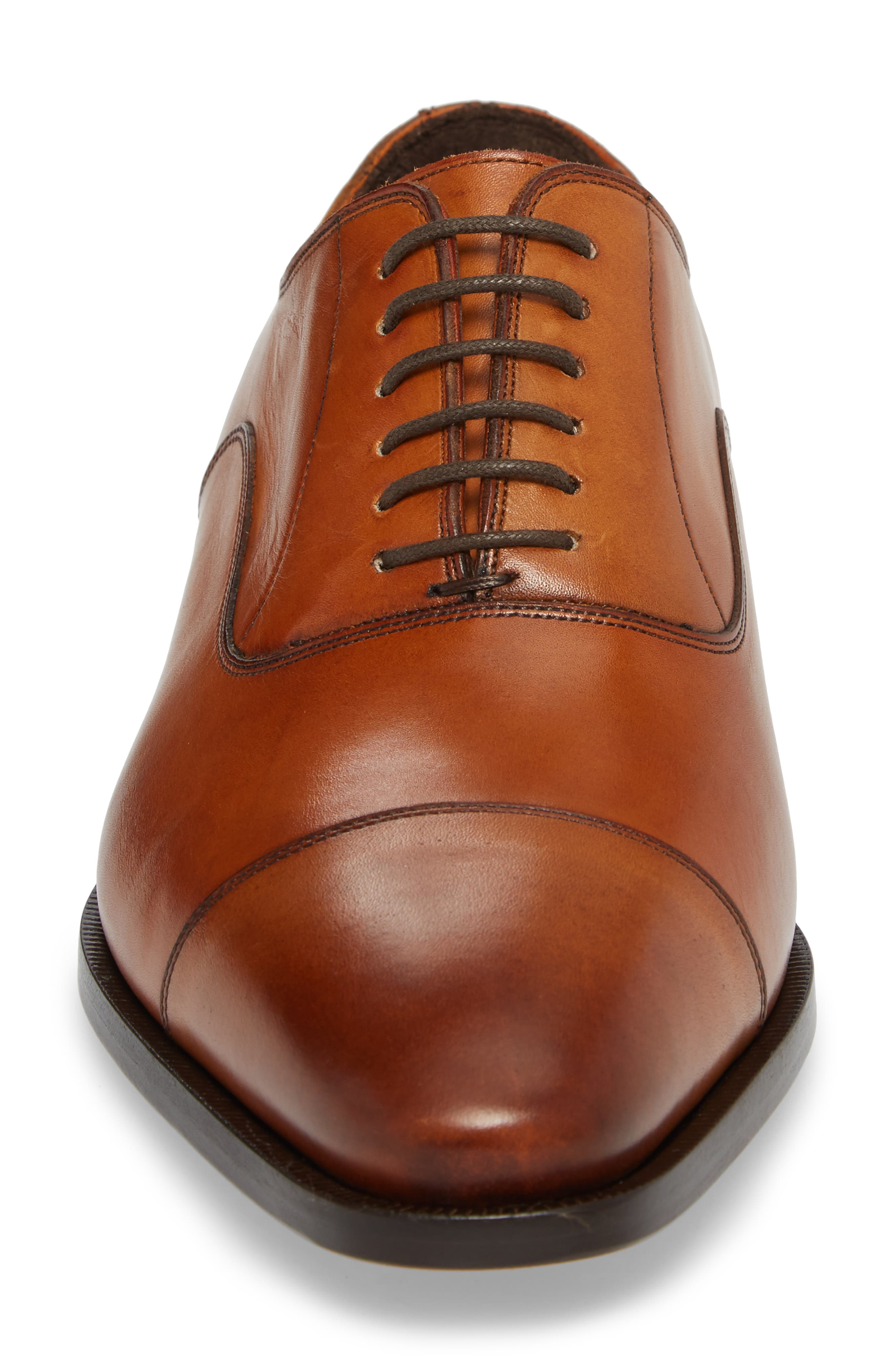 TO BOOT NEW YORK, Knoll Cap Toe Oxford, Alternate thumbnail 4, color, COGNAC LEATHER