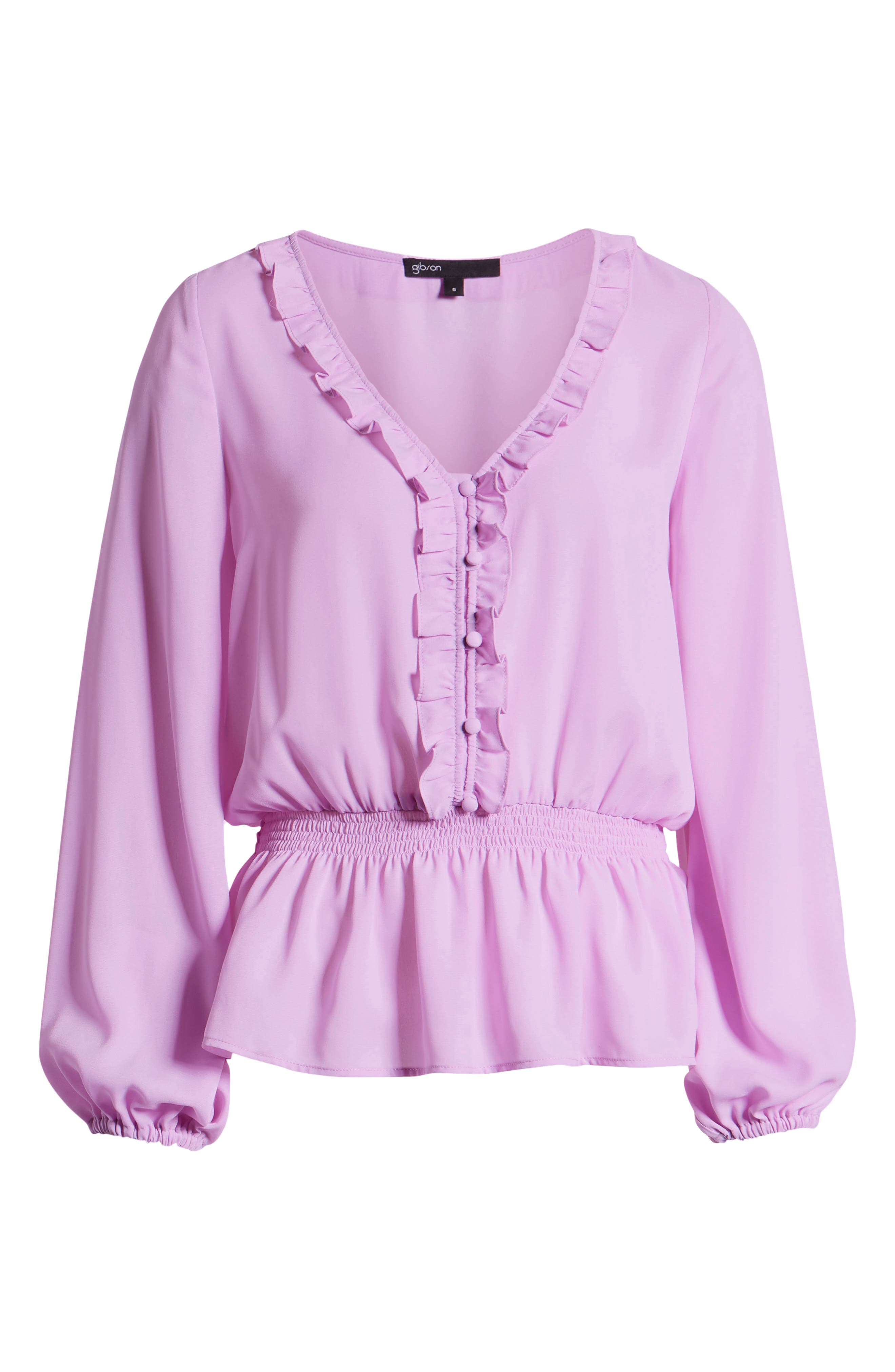 GIBSON, x International Women's Day Roselyn Ruffle Detail Smock Waist Blouse, Alternate thumbnail 7, color, LAVENDER LILY