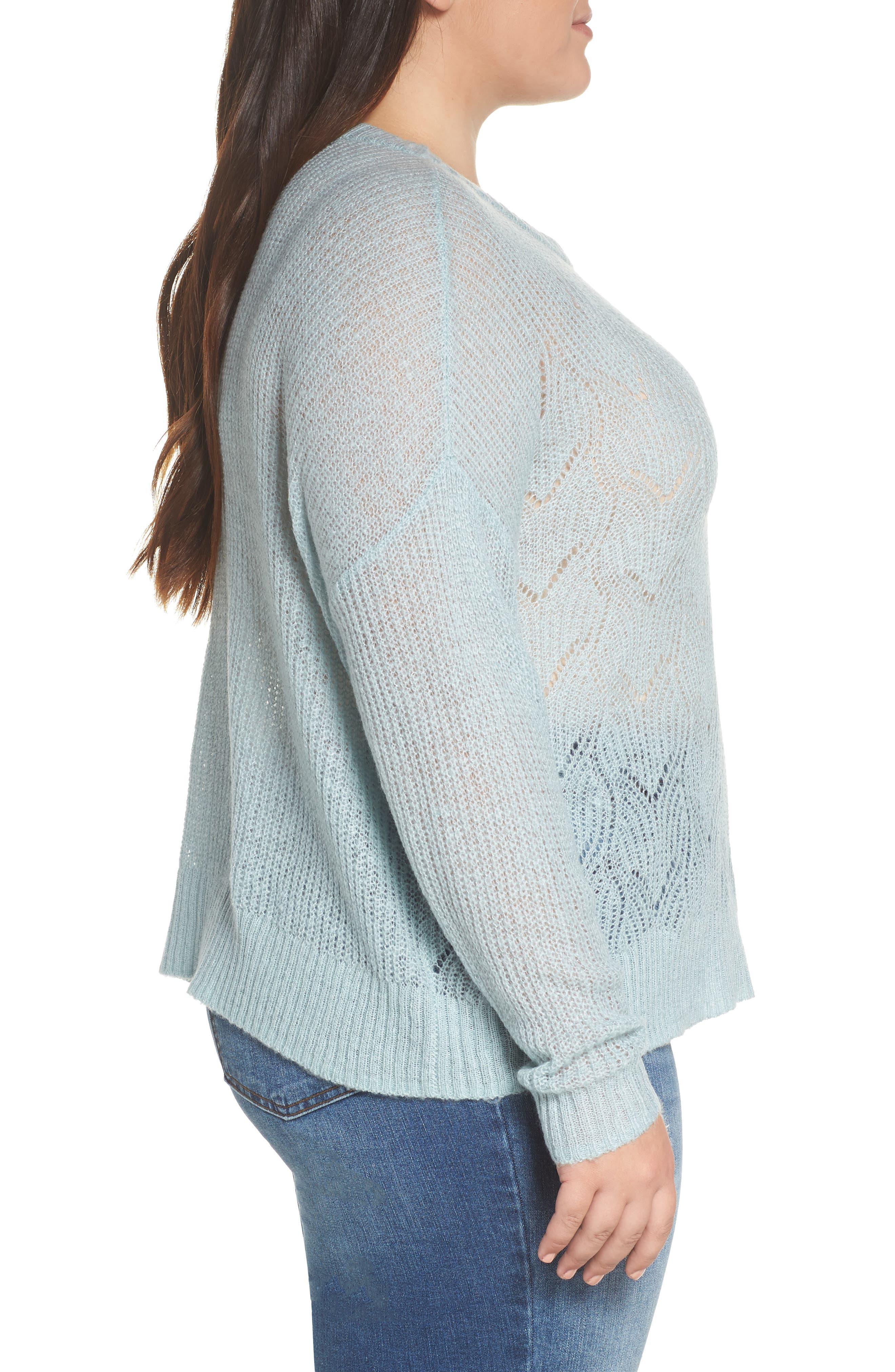 BP., Pointelle Stitch Sweater, Alternate thumbnail 9, color, BLUE CLOUD