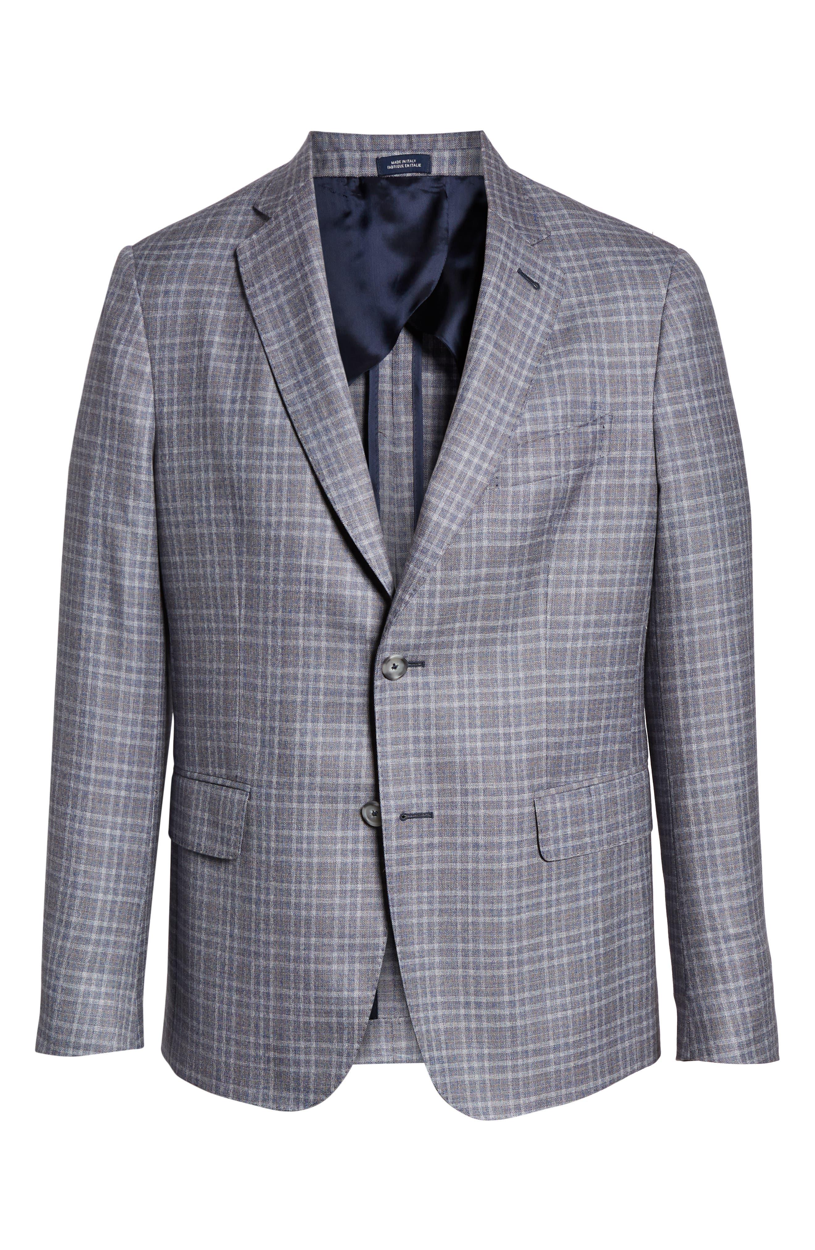 JOHN W. NORDSTROM<SUP>®</SUP>, Classic Fit Plaid Wool Sport Coat, Alternate thumbnail 5, color, 420