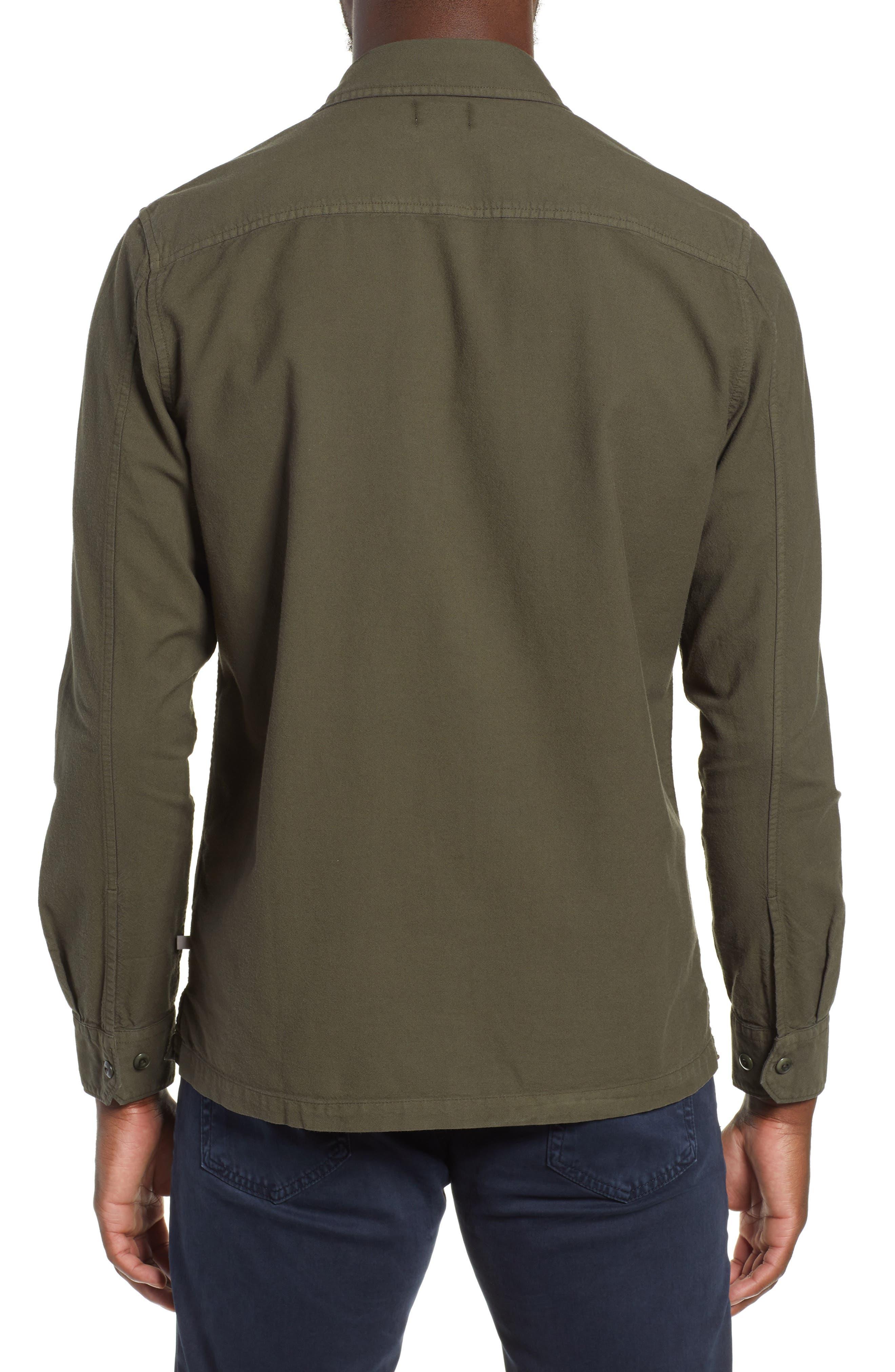 AG, Pioneer Tri-Pocket Long Sleeve Slim Fit Sport Shirt, Alternate thumbnail 3, color, SULFUR OAK GROVE