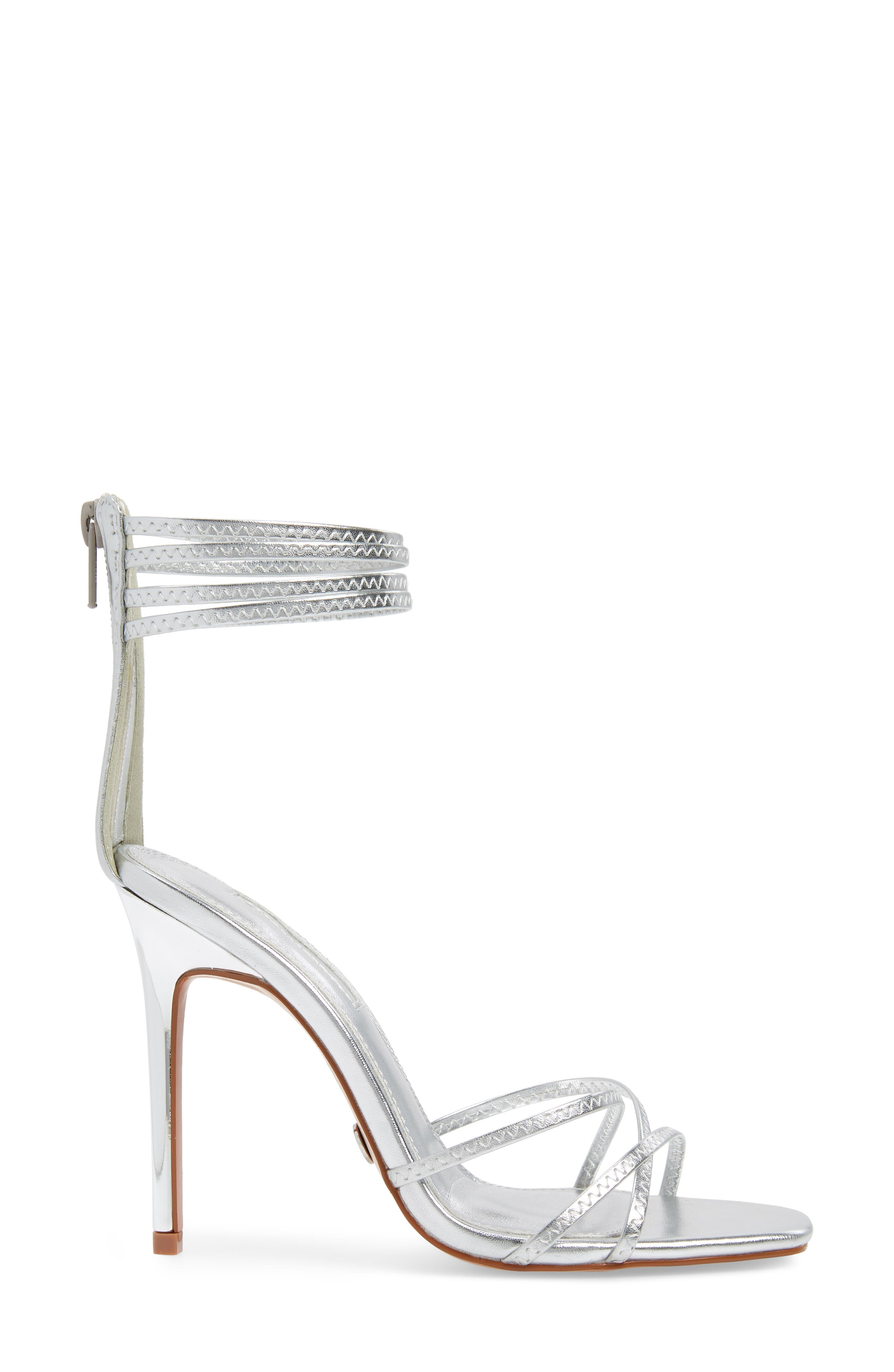 TOPSHOP, Rich Tall Strappy Sandal, Alternate thumbnail 3, color, SILVER