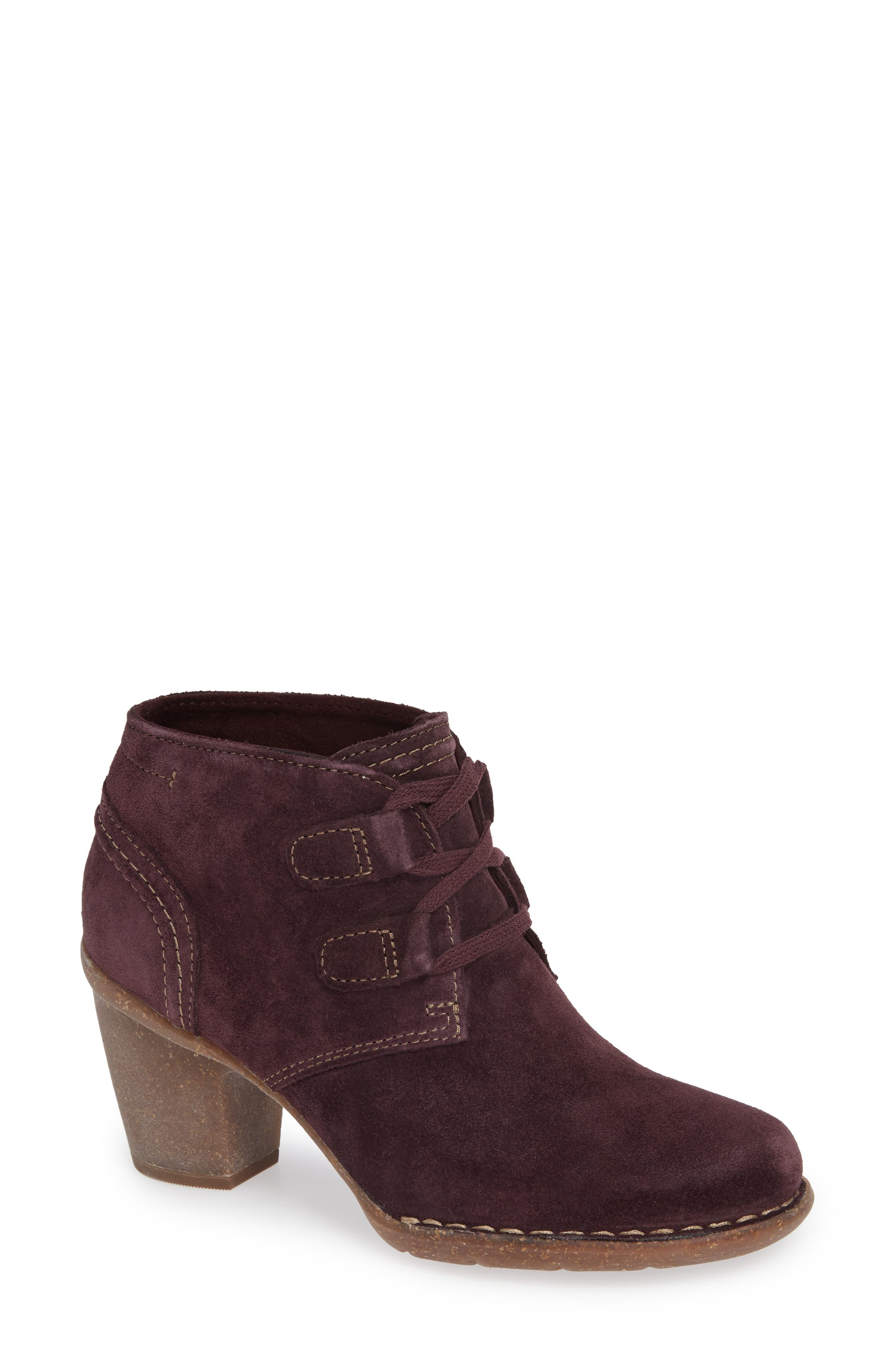 CLARKS<SUP>®</SUP>, Carleta Lyon Ankle Boot, Main thumbnail 1, color, AUBERGINE SUEDE