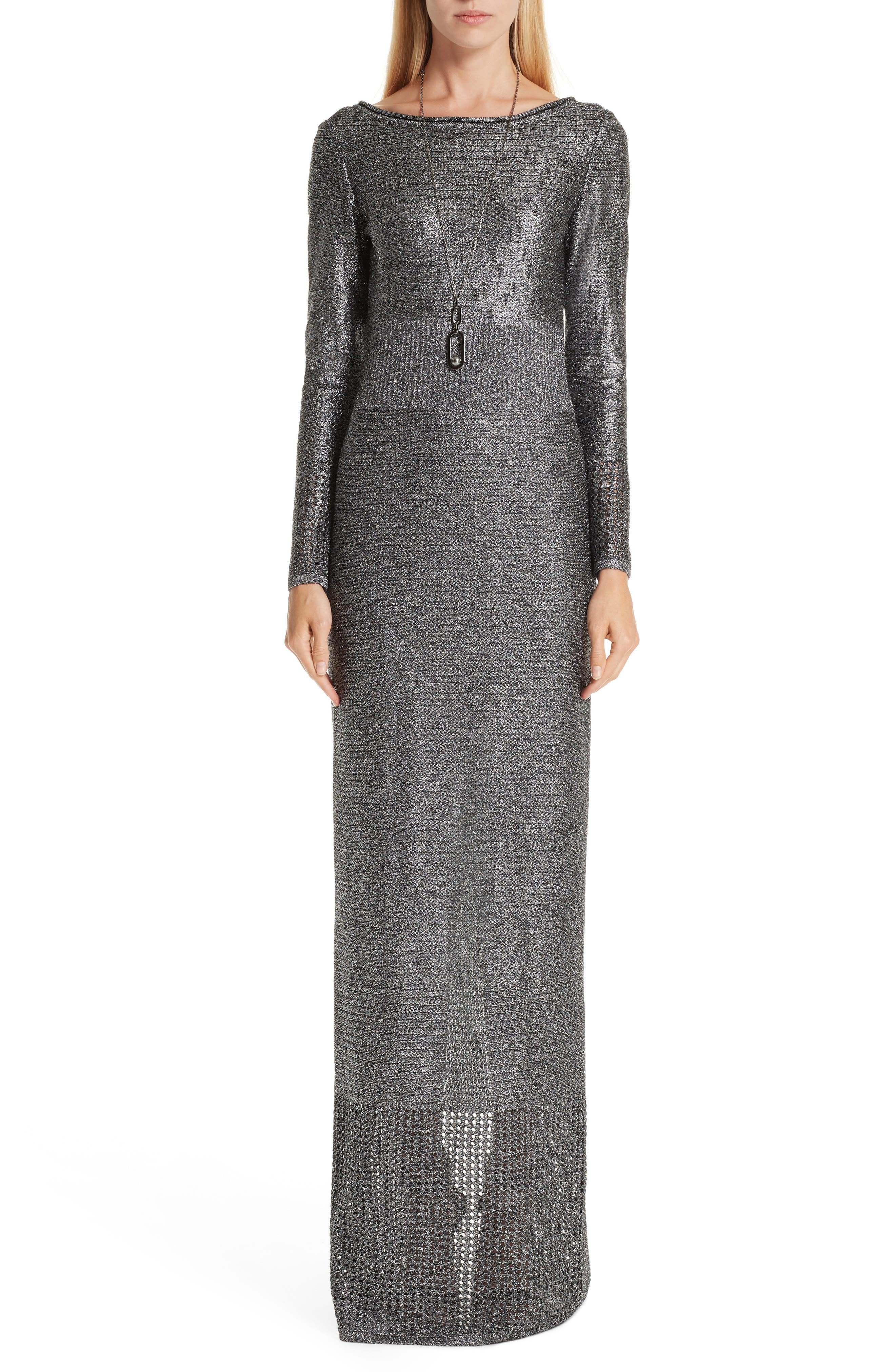 ST. JOHN COLLECTION, Metallic Plaited Mixed Knit Gown, Alternate thumbnail 6, color, GUNMETAL/ CAVIAR