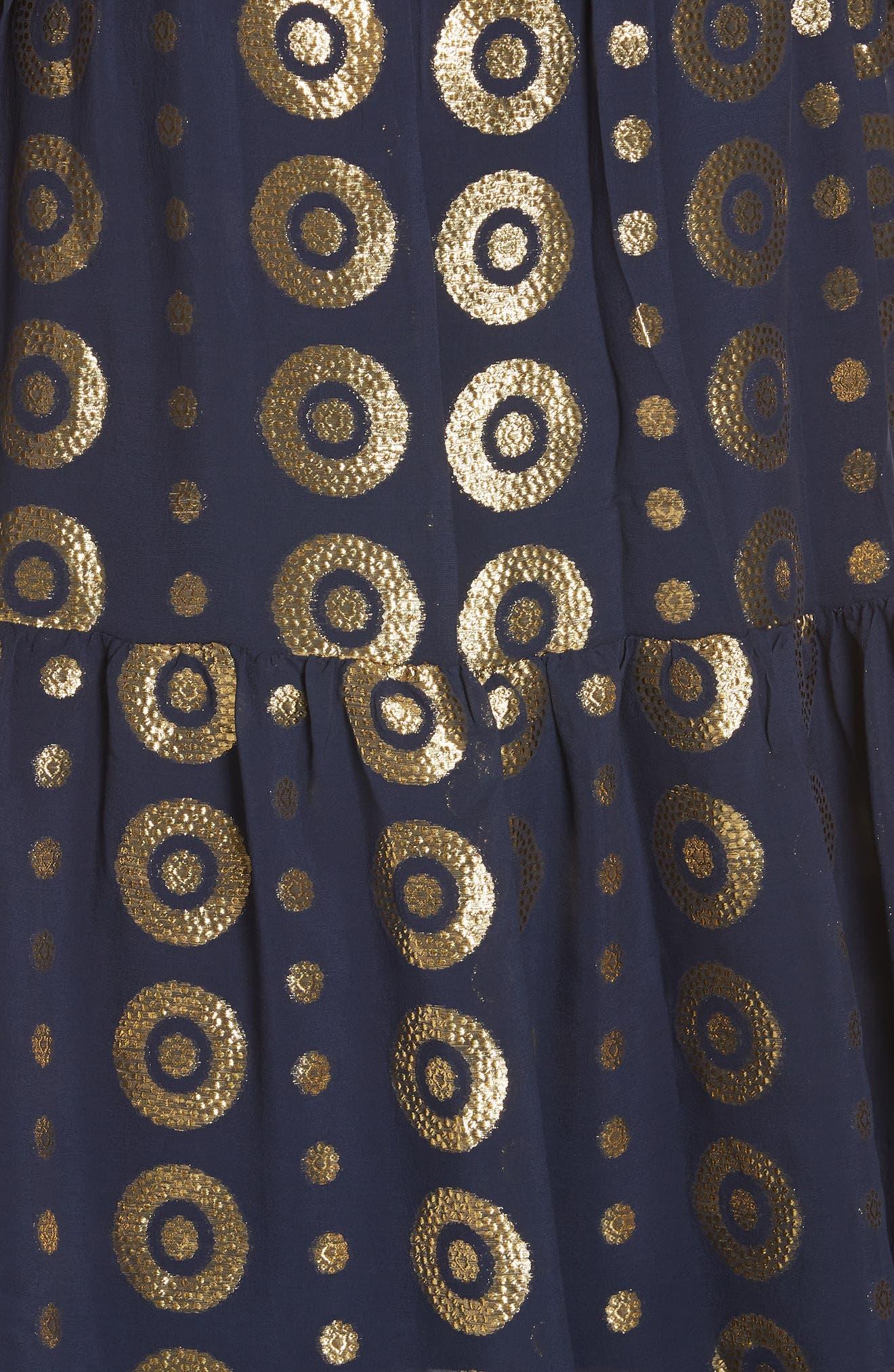 SALONI, Isabel Fil Coupé Silk Blend Midi Dress, Alternate thumbnail 5, color, 412