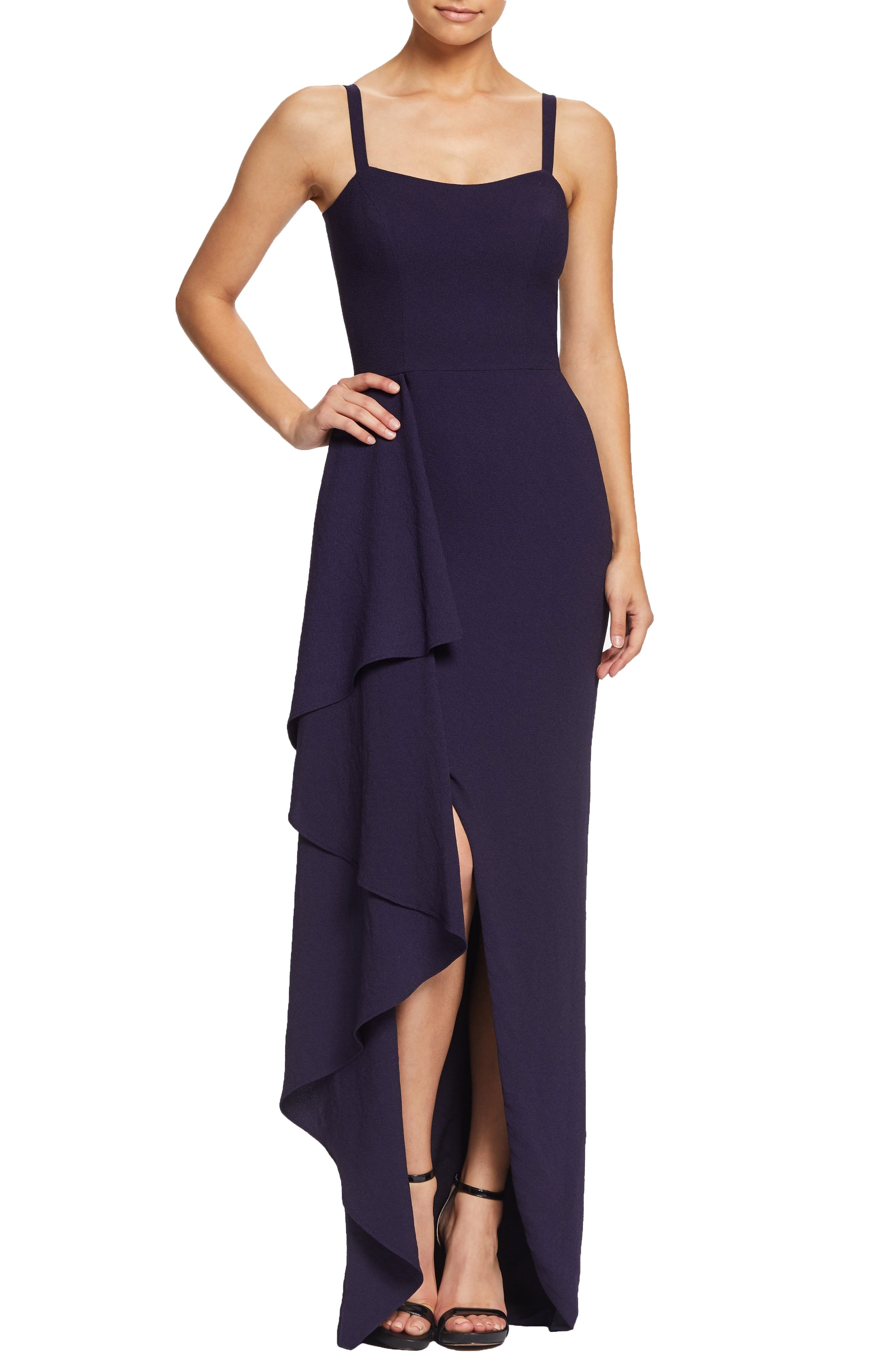 Dress The Population Cora Sleeveless Waterfall Crepe Gown, Purple