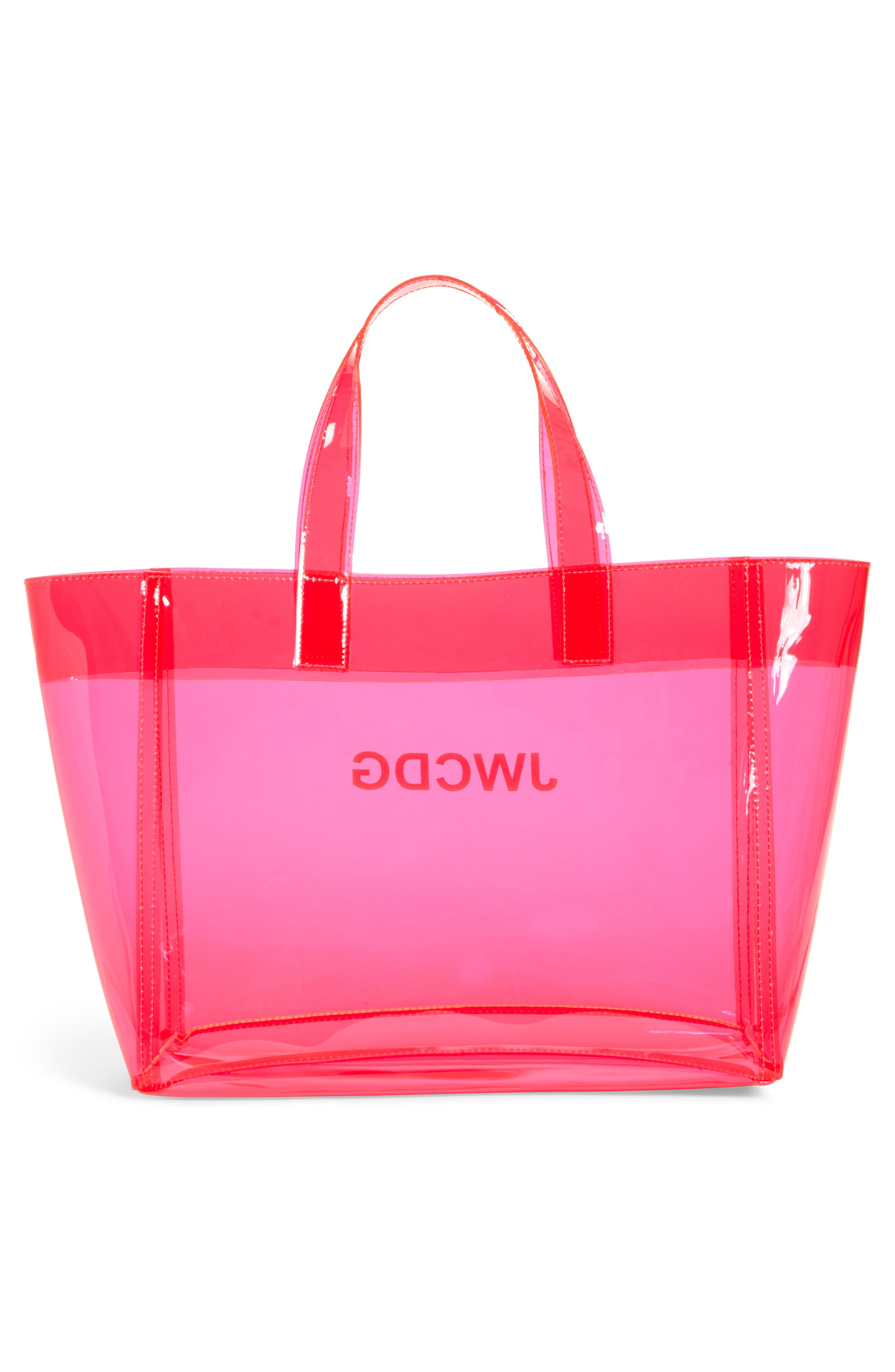 JUNYA WATANABE, Small Transparent Tote, Alternate thumbnail 3, color, PINK