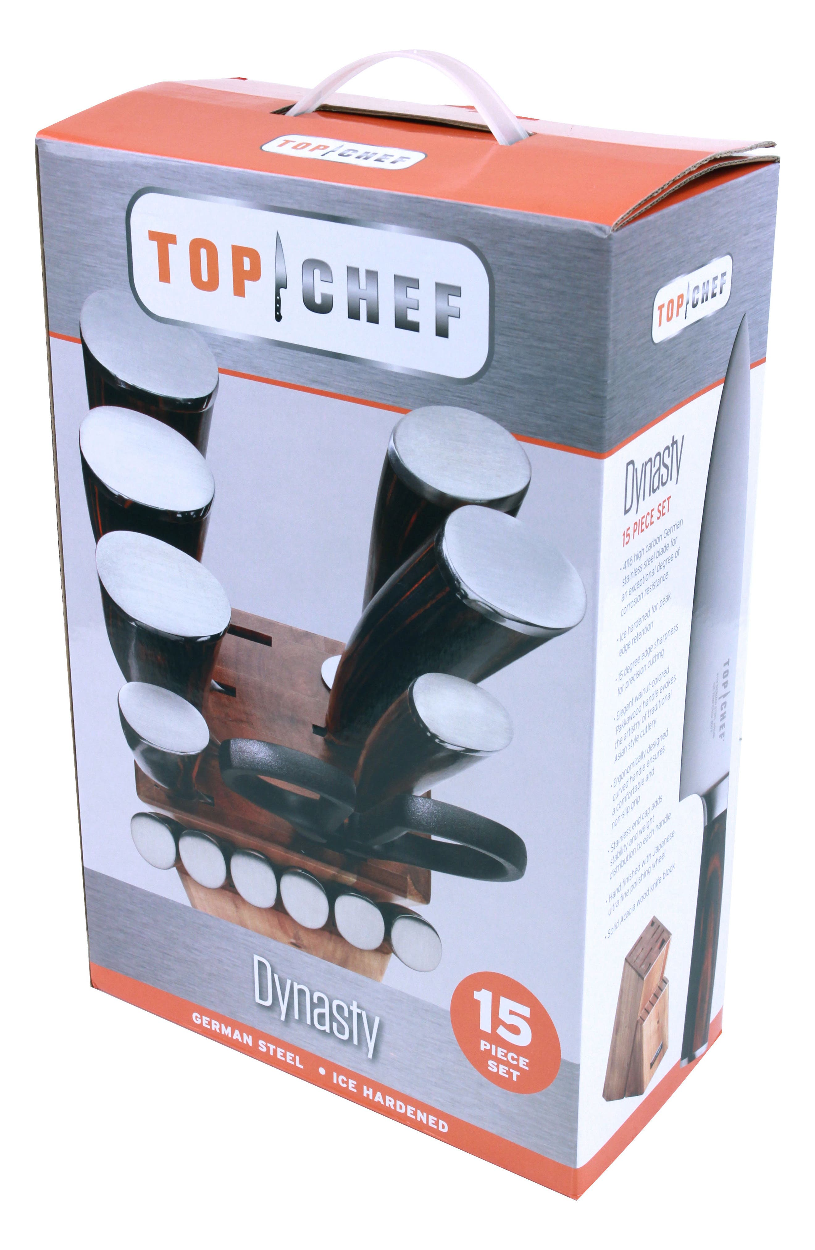 TOP CHEF, Dynasty 15-Piece Knife Block Set, Alternate thumbnail 3, color, BROWN