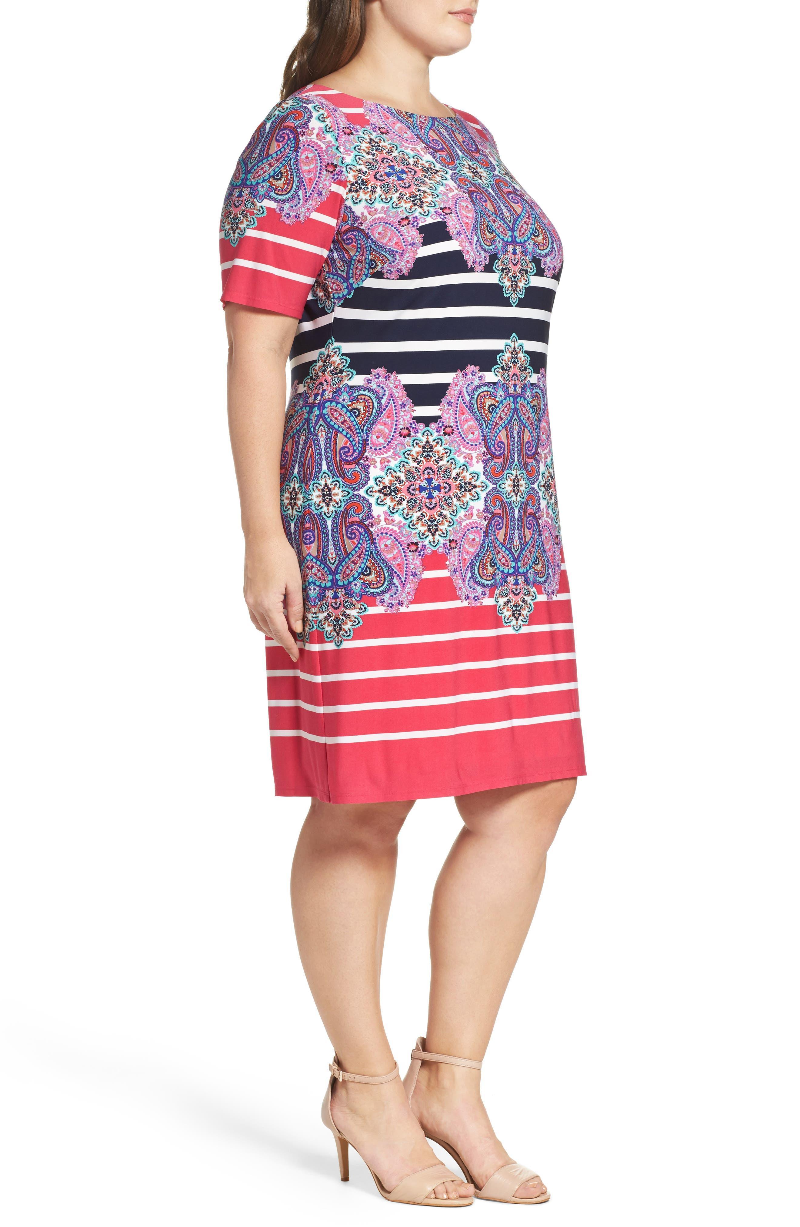 ELIZA J, Stripe & Paisley Shift Dress, Alternate thumbnail 3, color, 698