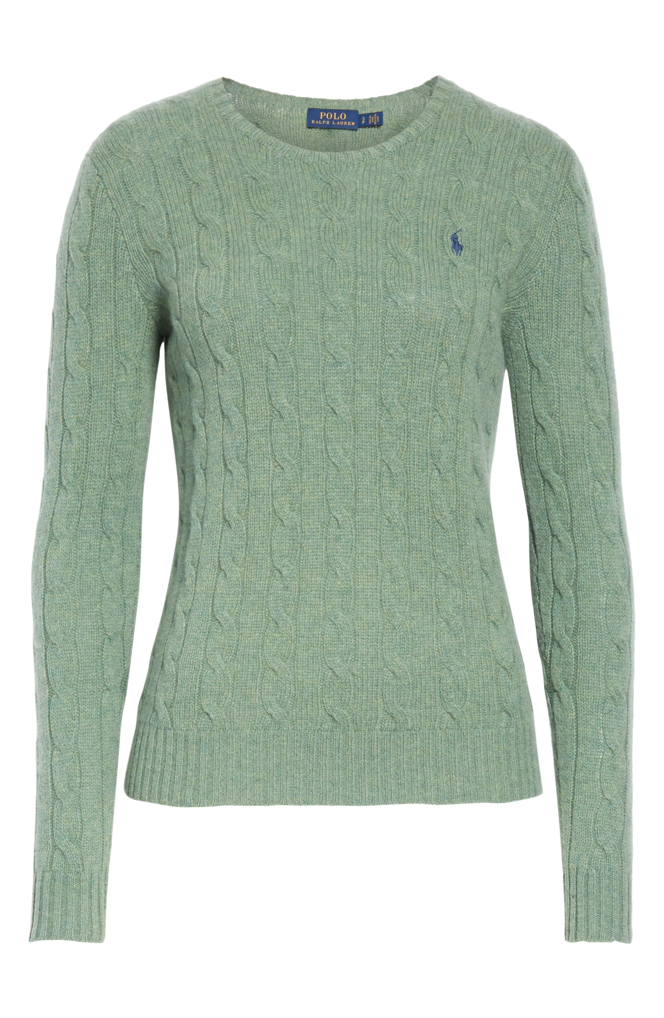 POLO RALPH LAUREN, Cable Knit Cotton Sweater, Alternate thumbnail 6, color, 300