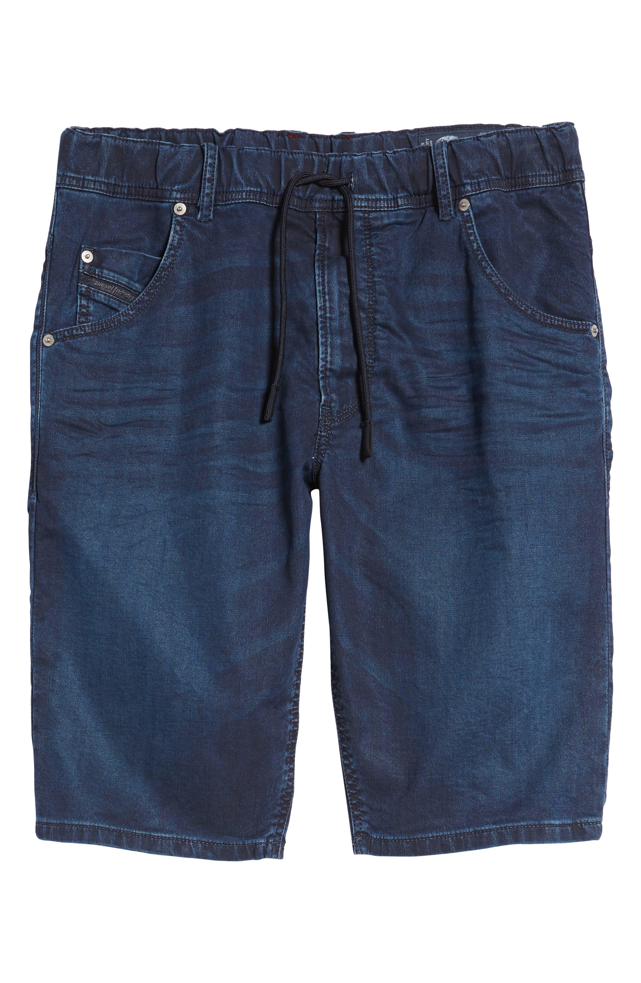 DIESEL<SUP>®</SUP>, Krooshort Denim Shorts, Alternate thumbnail 6, color, 400