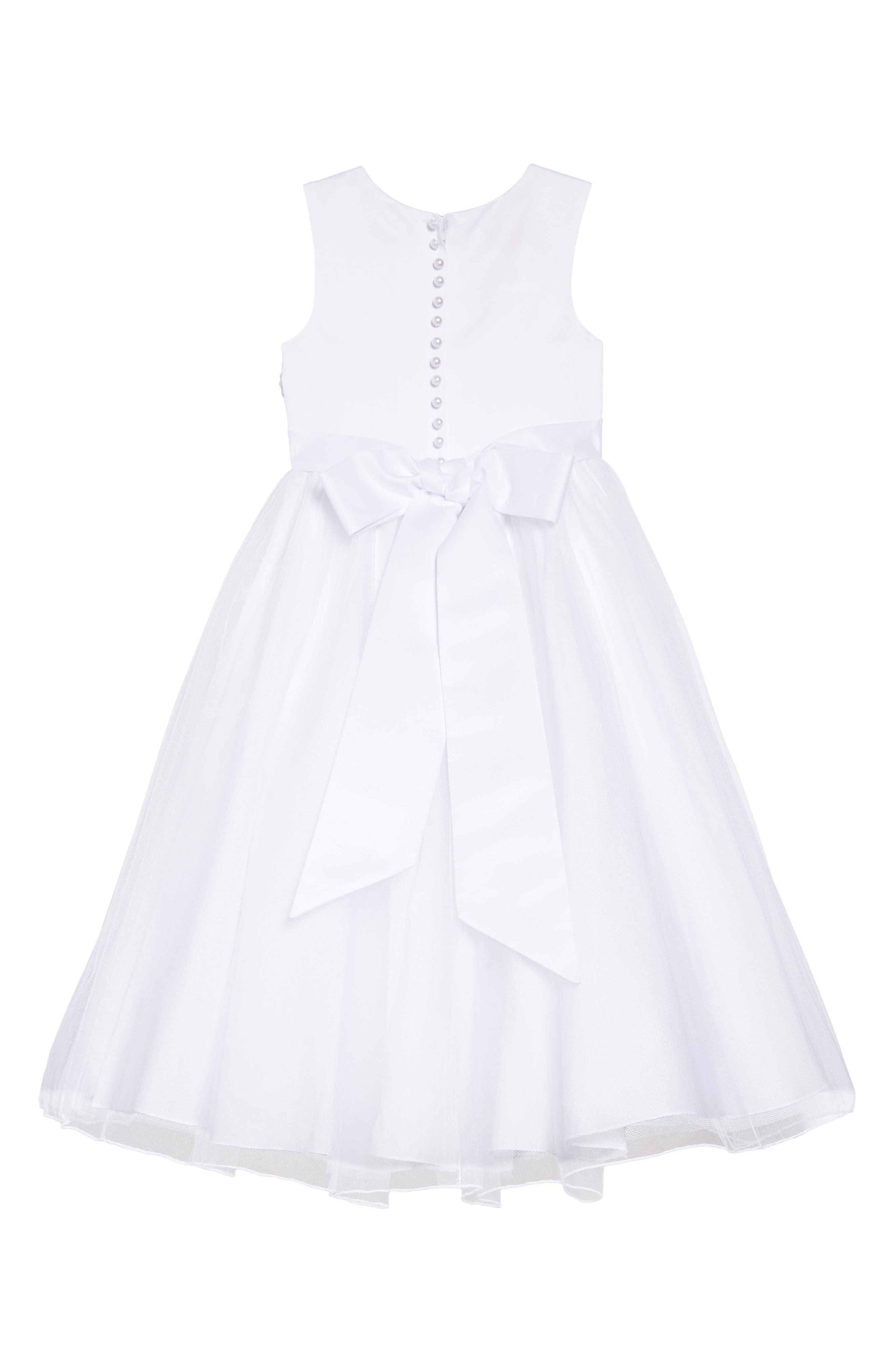LAUREN MARIE, Imitation Pearl Tulle Dress, Alternate thumbnail 4, color, WHITE