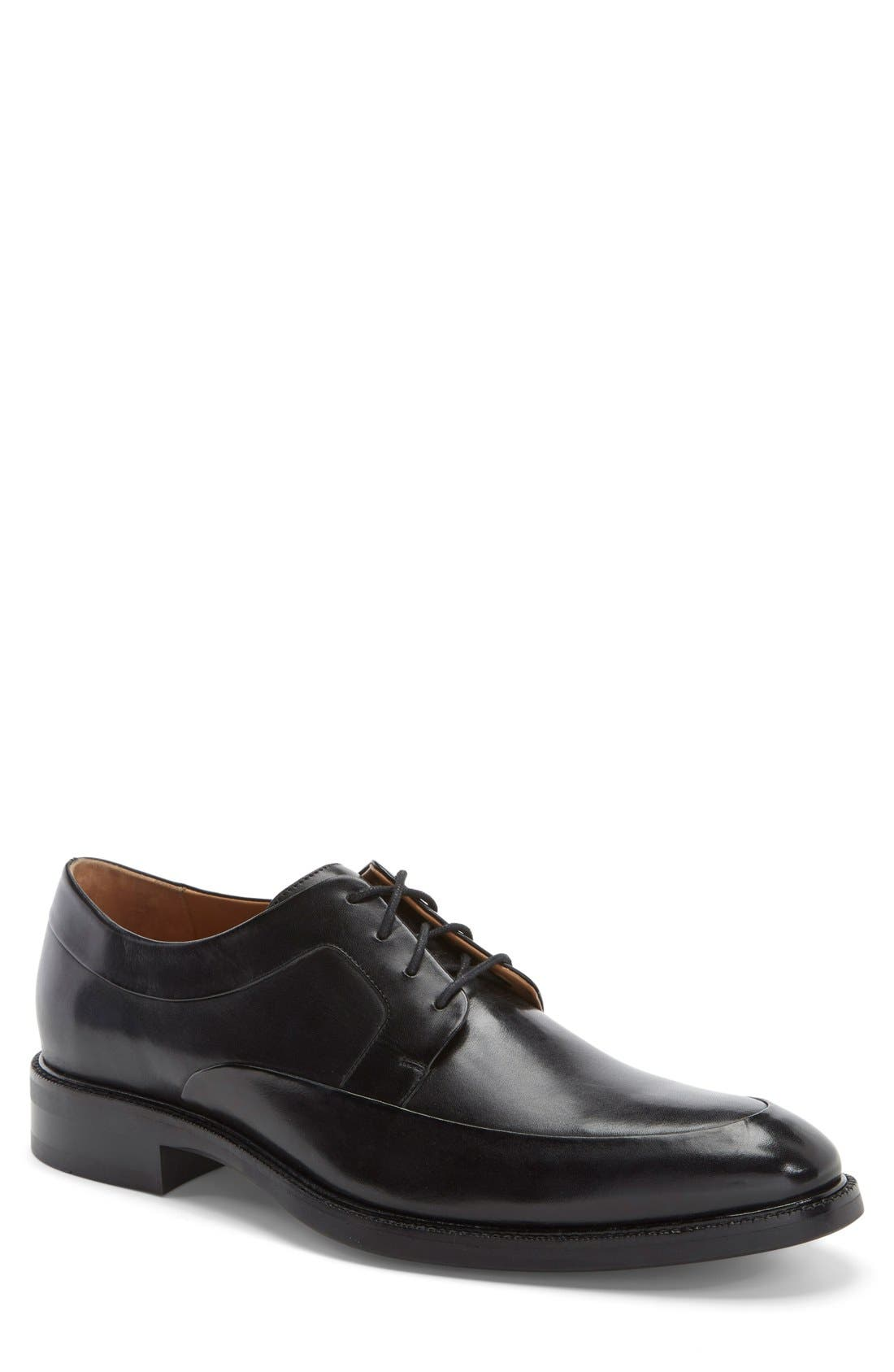 COLE HAAN, 'Warren' Apron Toe Derby, Main thumbnail 1, color, BLACK LEATHER