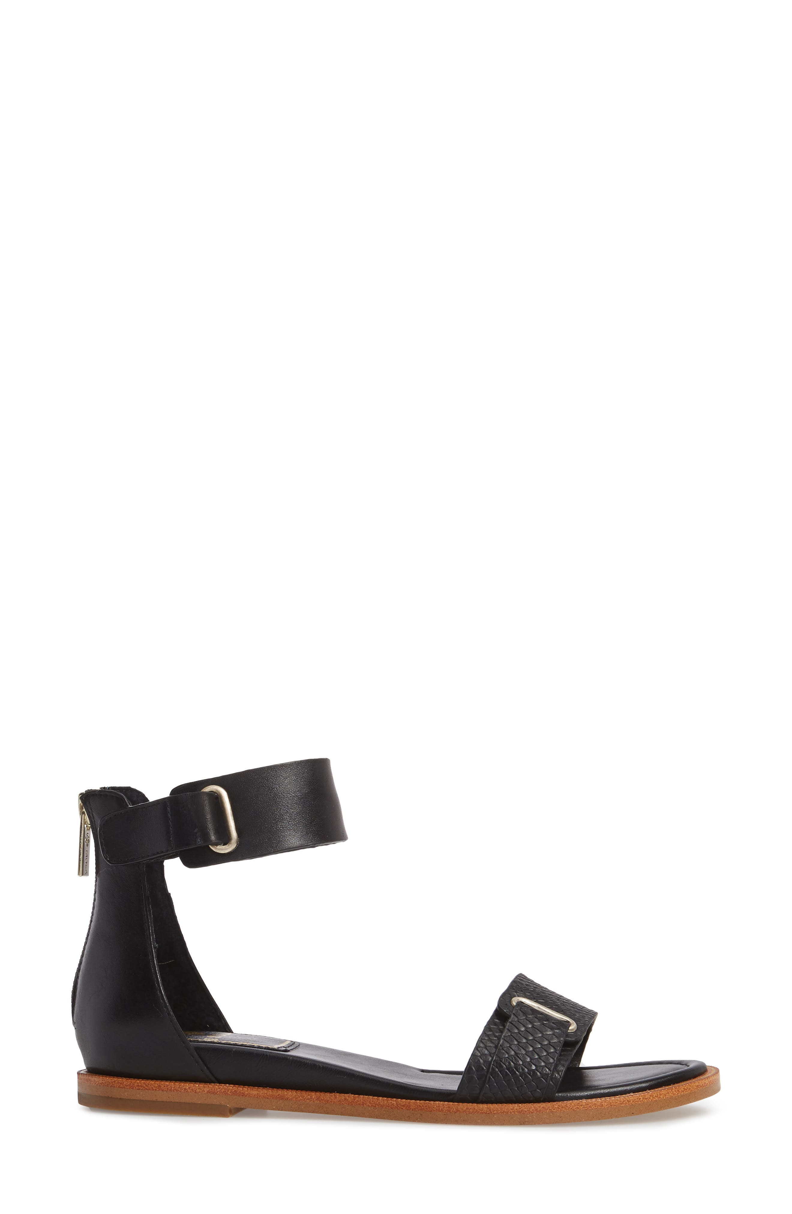 ISOLÁ, Savina Ankle Strap Sandal, Alternate thumbnail 3, color, BLACK LEATHER