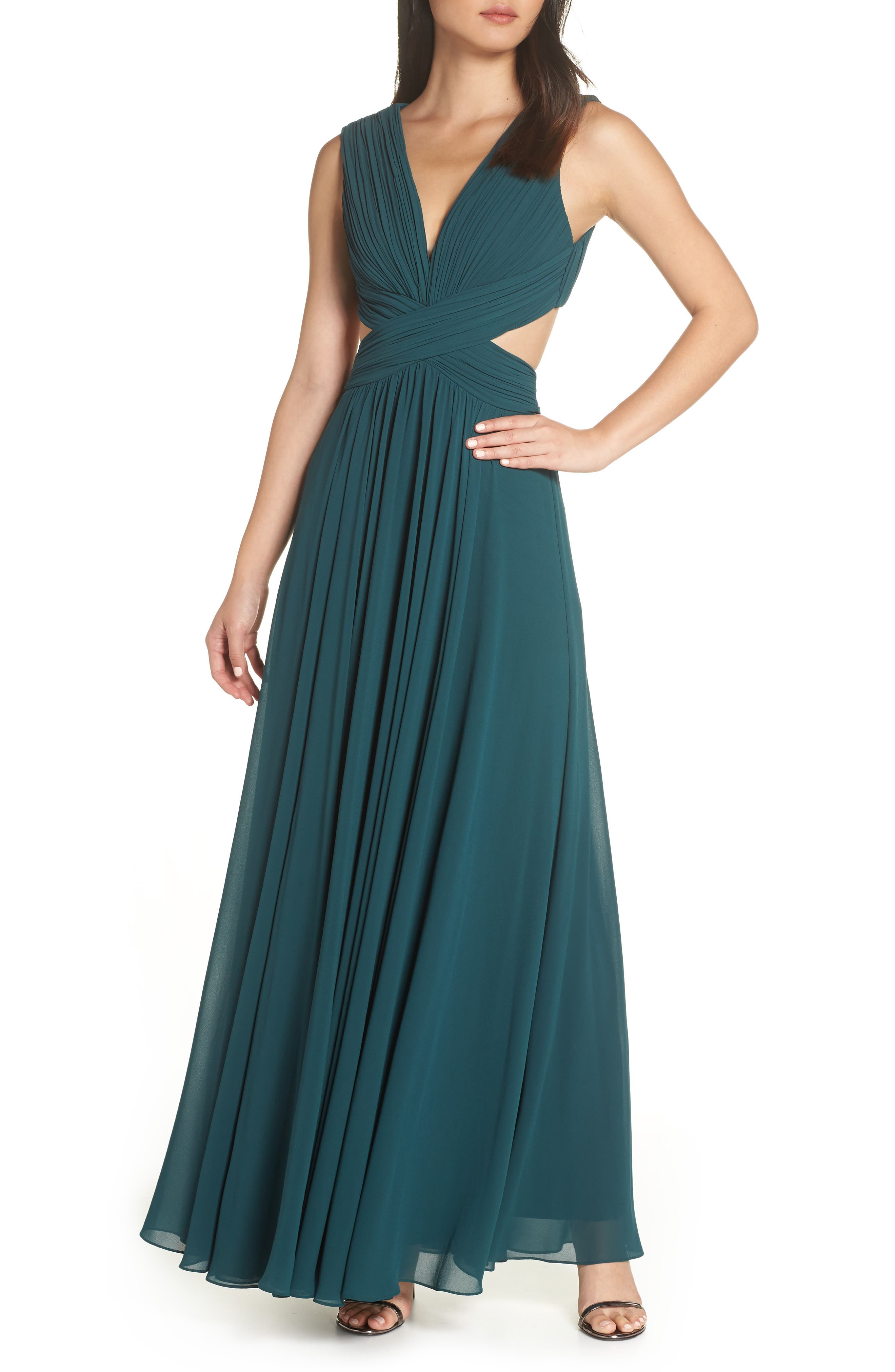 LULUS, Vivid Imagination Chiffon Gown, Main thumbnail 1, color, FOREST GREEN