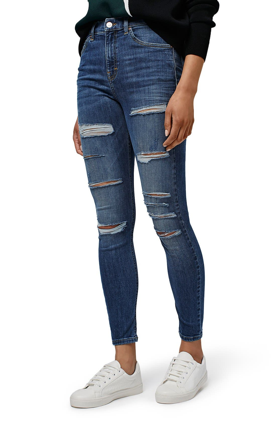 TOPSHOP, Jamie Ripped High Rise Skinny Jeans, Alternate thumbnail 2, color, 400