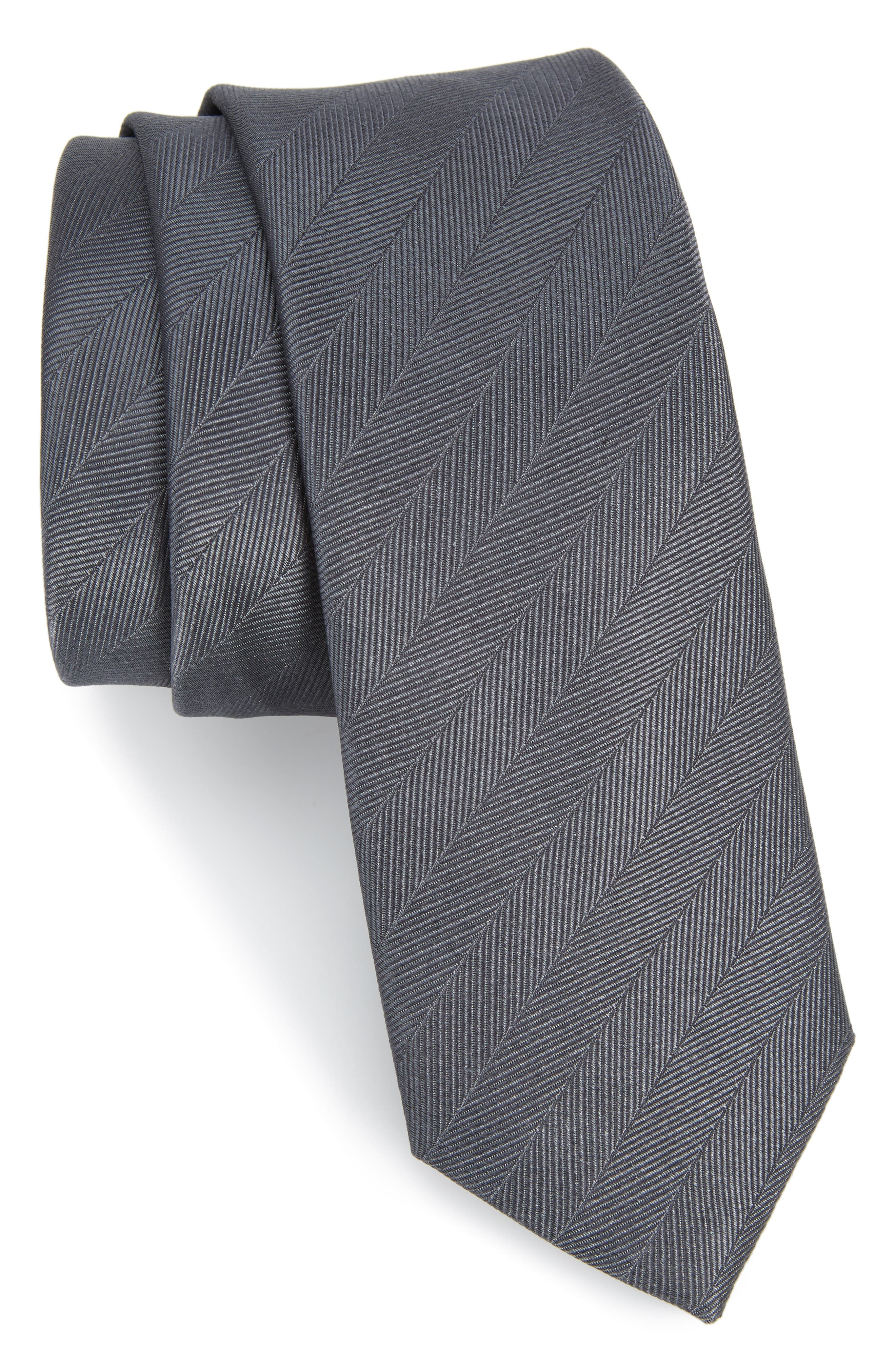 THE TIE BAR, Herringbone Vow Silk Tie, Main thumbnail 1, color, CHARCOAL