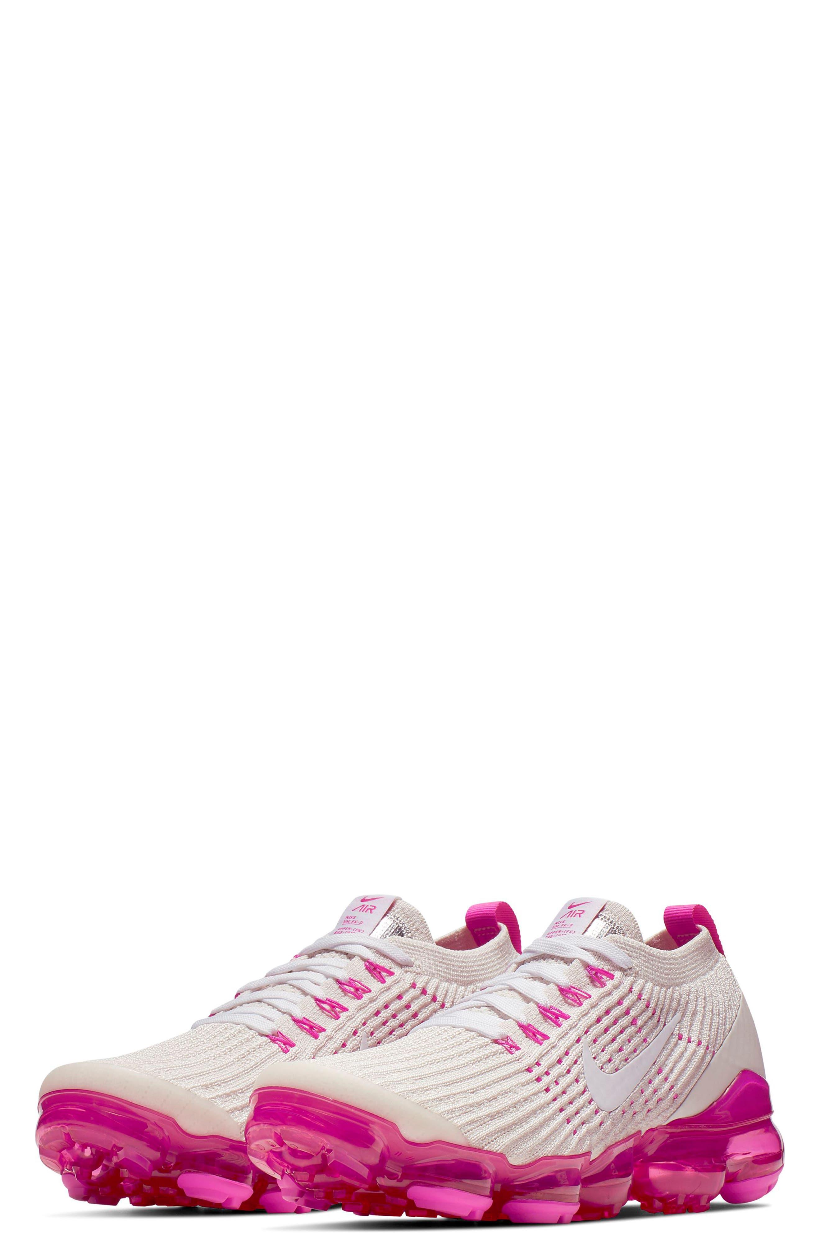 NIKE, Air VaporMax Flyknit 3 Running Shoe, Main thumbnail 1, color, PHANTOM/ WHITE/ FUCHSIA/ PINK