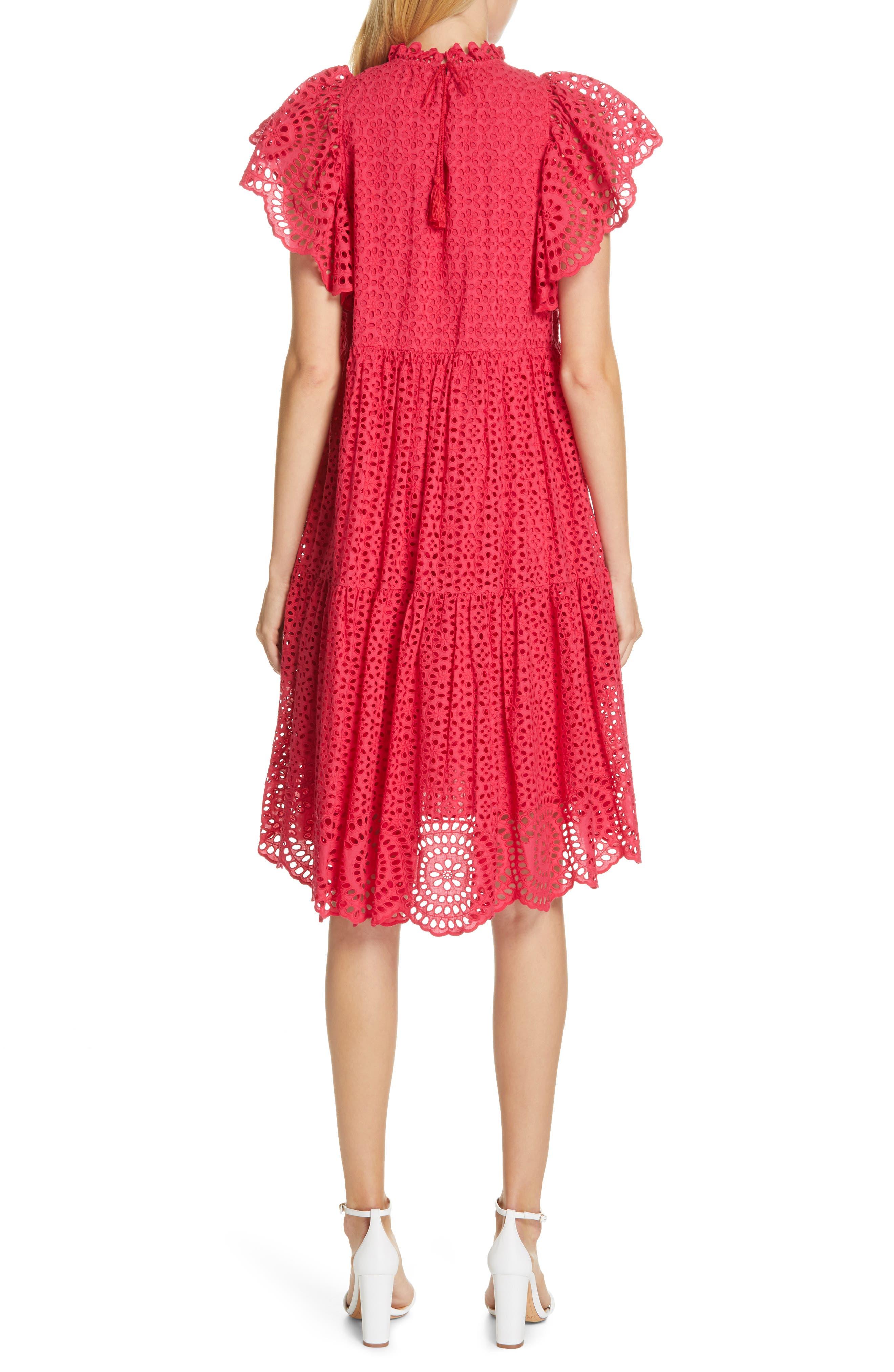 ULLA JOHNSON, Norah Eyelet Dress, Alternate thumbnail 2, color, FUCHSIA