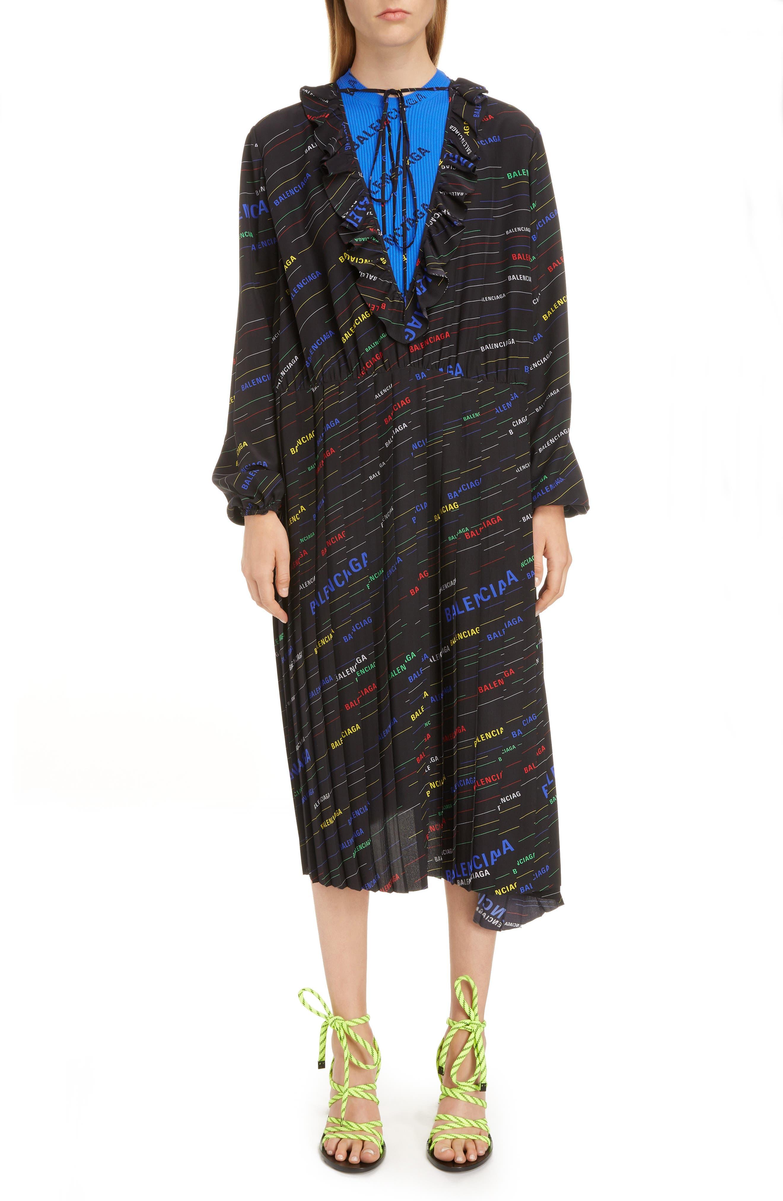 Balenciaga Stripe Logo Print Ruffle Dress, US / 40 FR - Black