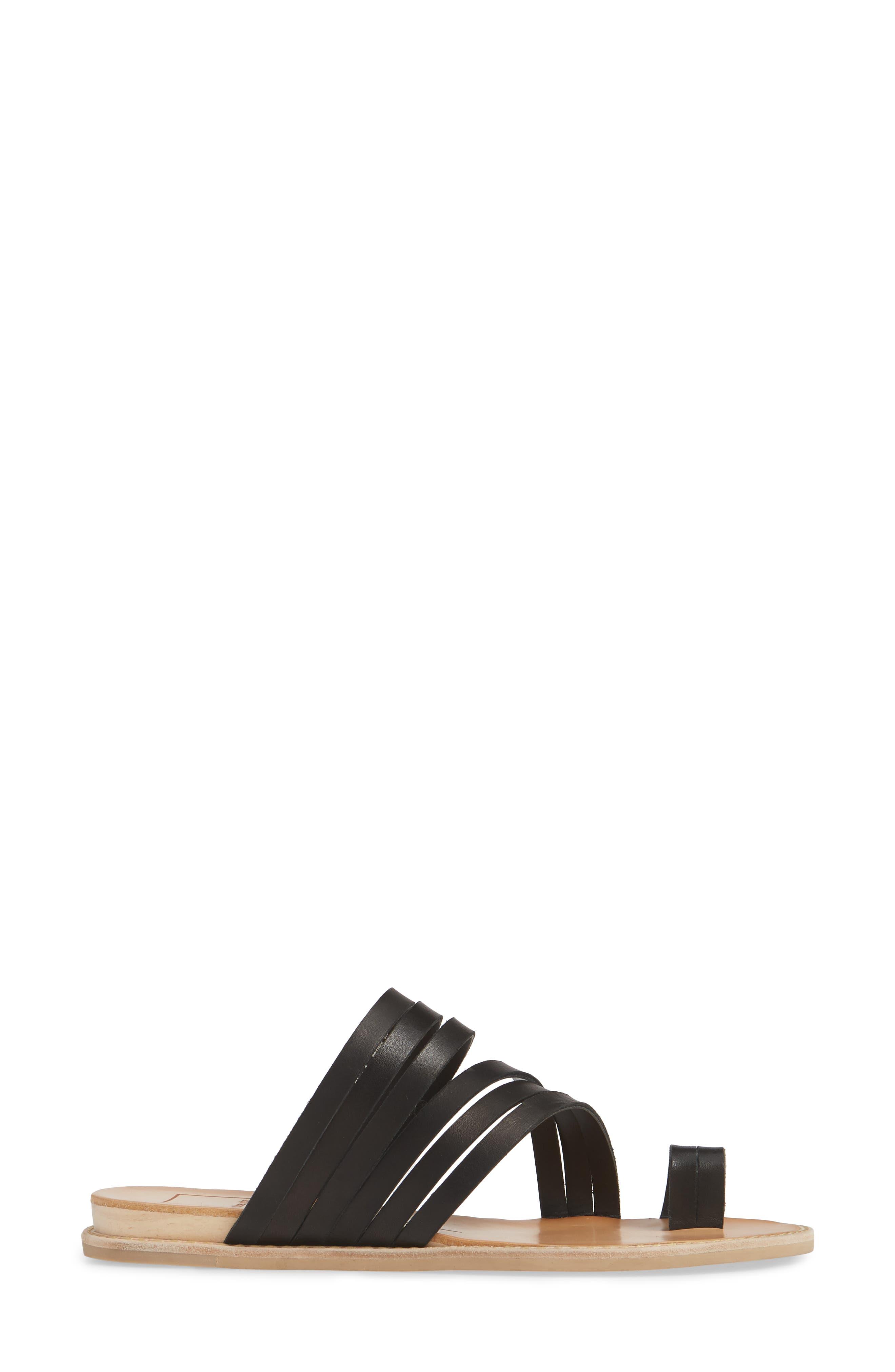 DOLCE VITA, Nelly Slide Sandal, Alternate thumbnail 3, color, BLACK LEATHER
